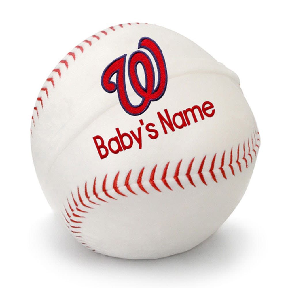 Washington Nationals Personalized Plush Baby Baseball - White