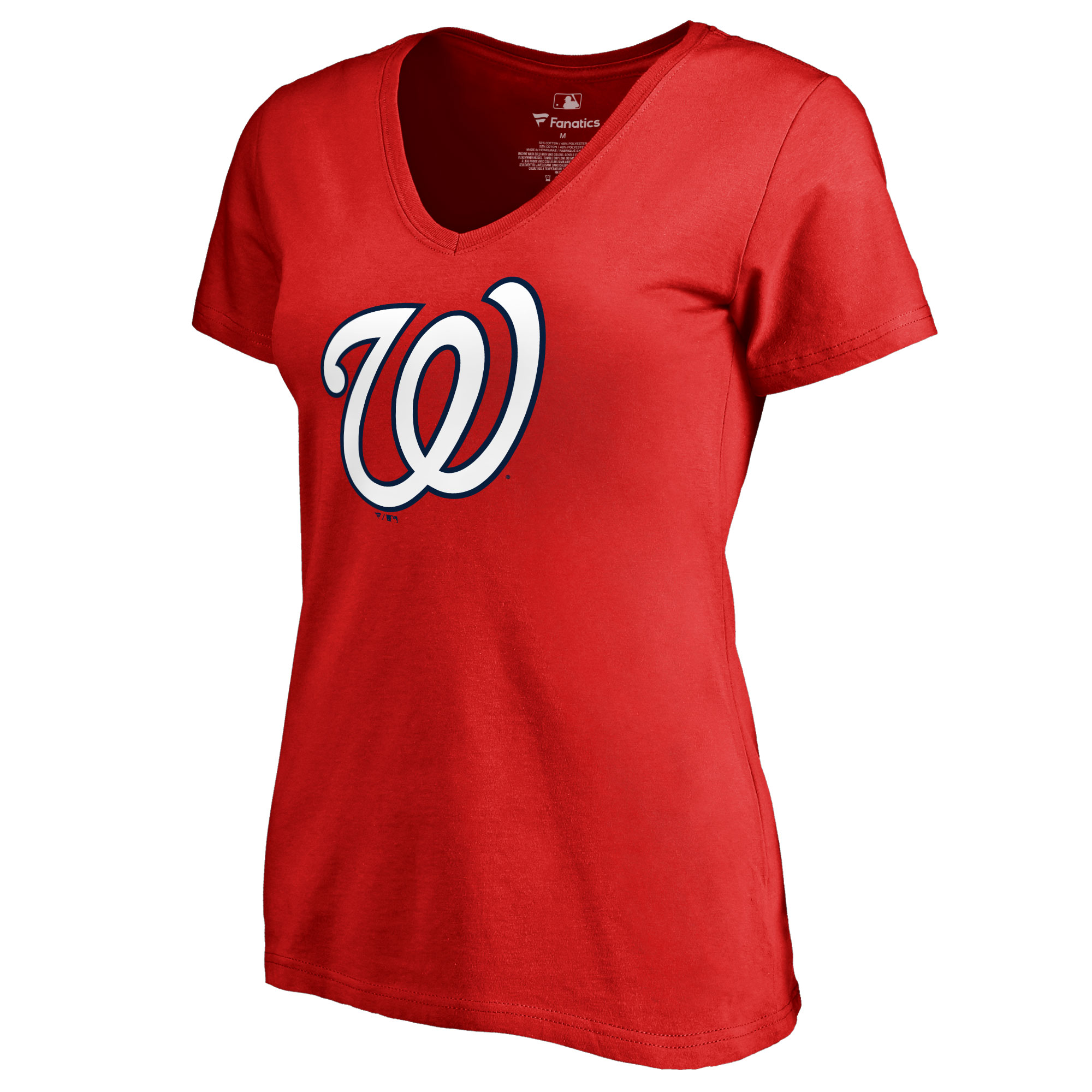 Washington Nationals Women's Team Color Primary Logo V-Neck T-Shirt - Red