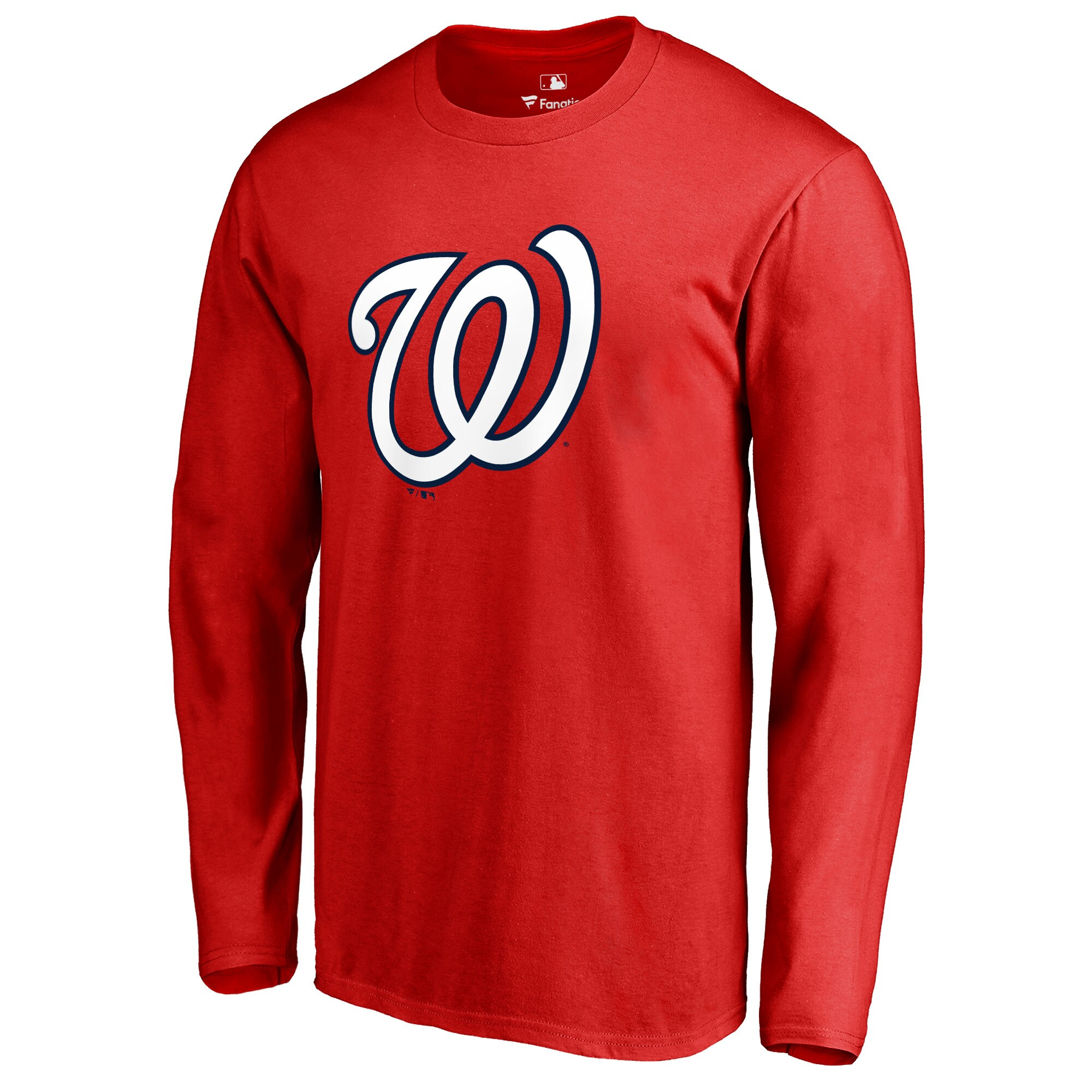 Washington Nationals Team Color Primary Logo Long Sleeve T-Shirt - Red