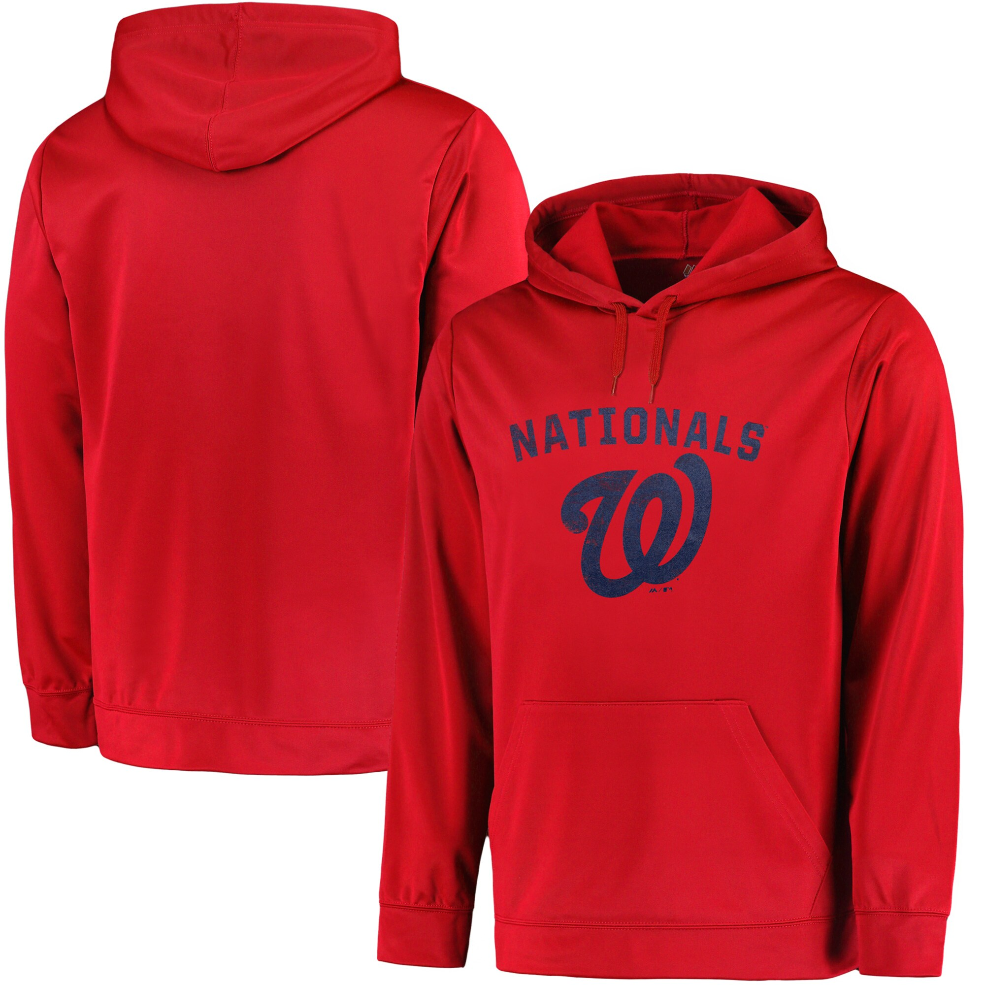 Washington Nationals Majestic Big & Tall Distressed Hoodie - Red