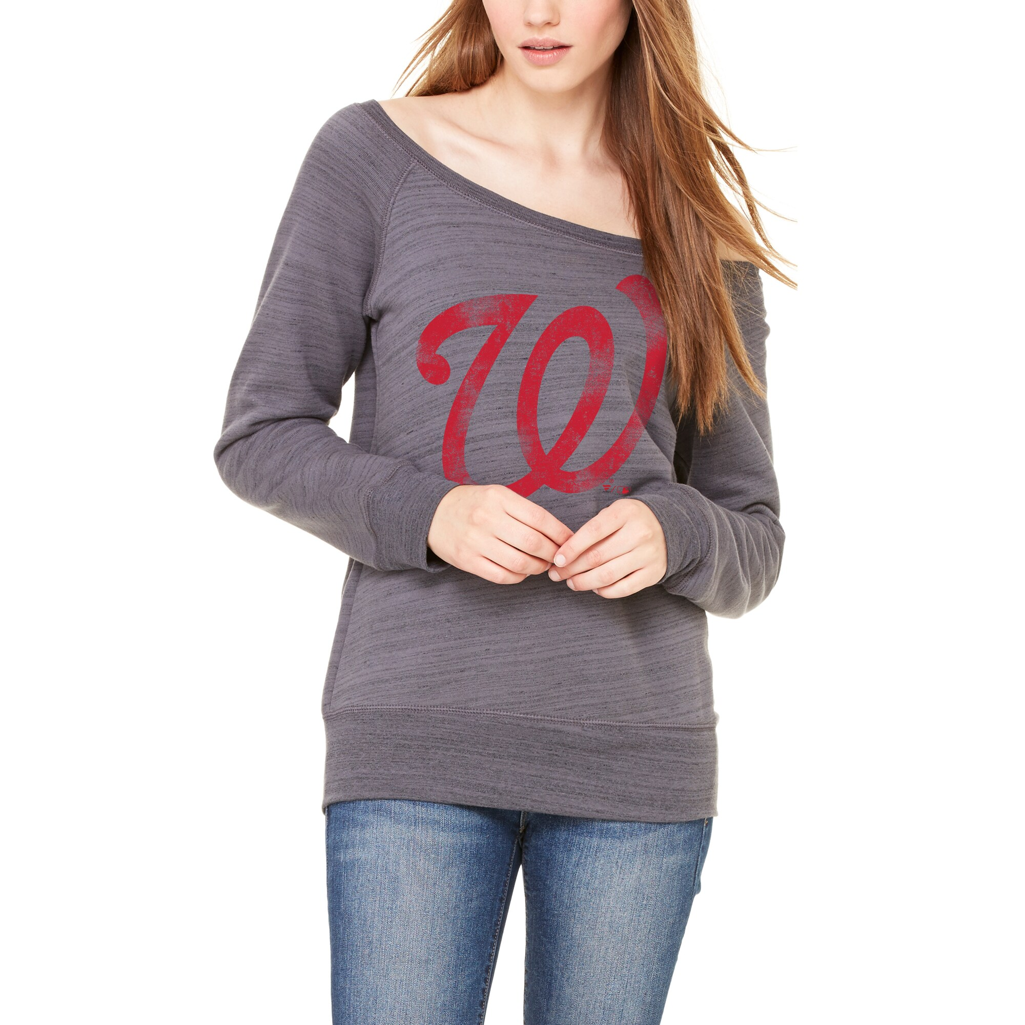 Washington Nationals Let Loose by RNL Women's Game Day Wide Neck Sweatshirt - Dark Gray Marble