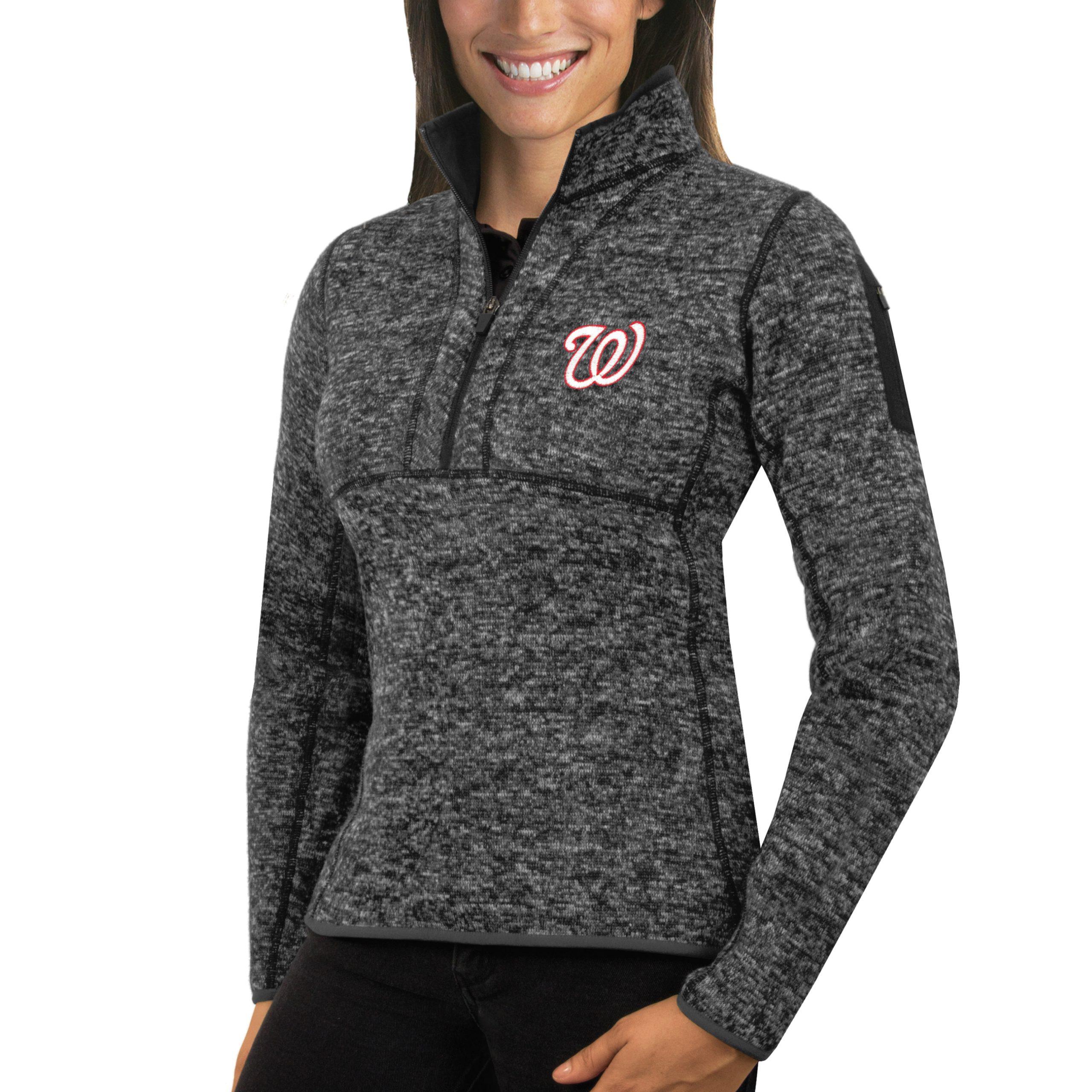 Washington Nationals Antigua Women's Fortune Half-Zip Pullover Sweater - Heathered Charcoal