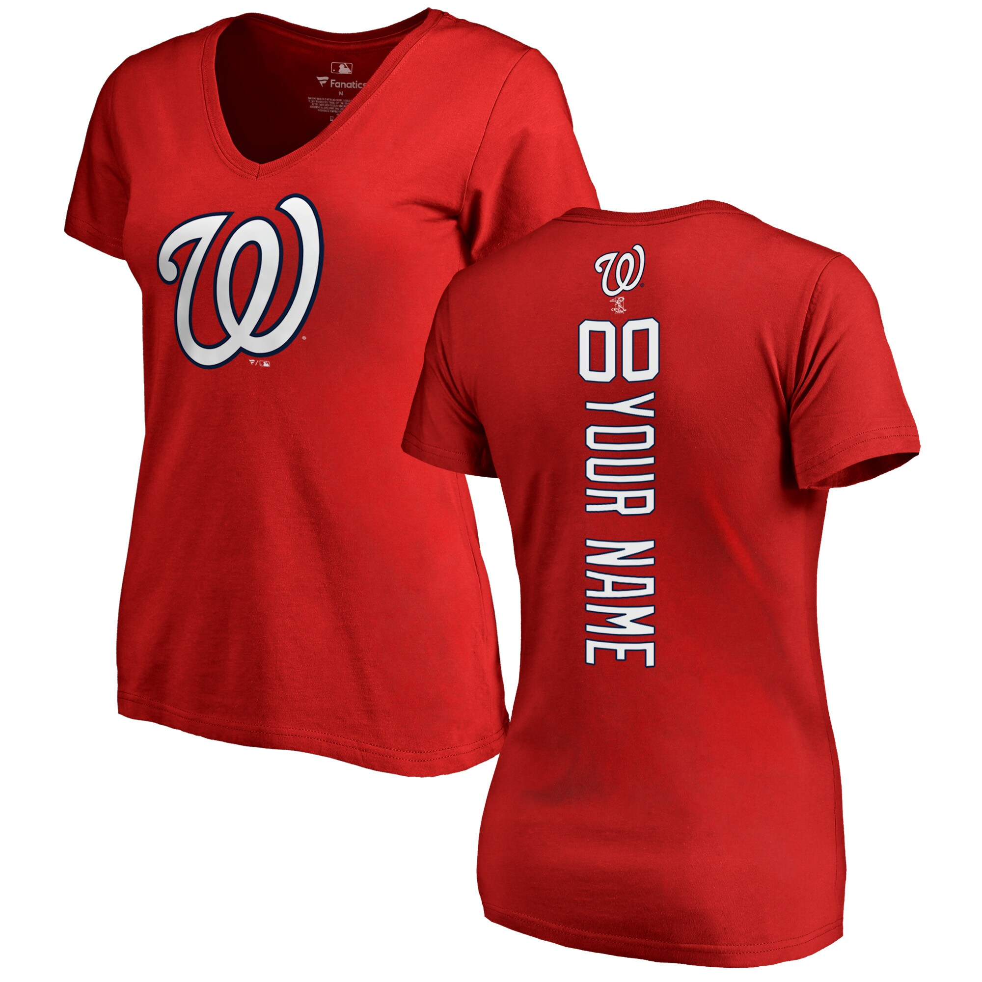 Washington Nationals Fanatics Branded Women's Personalized Playmaker V-Neck T-Shirt - Red