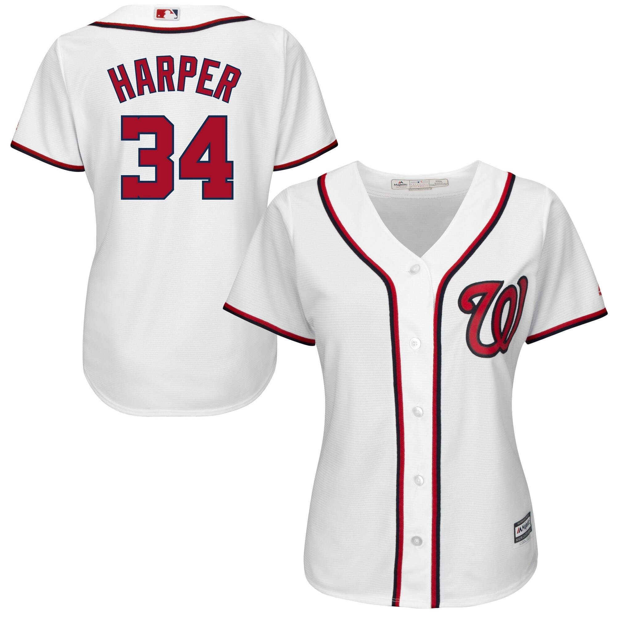 Bryce Harper Washington Nationals Majestic Women's Cool Base Player Jersey - White