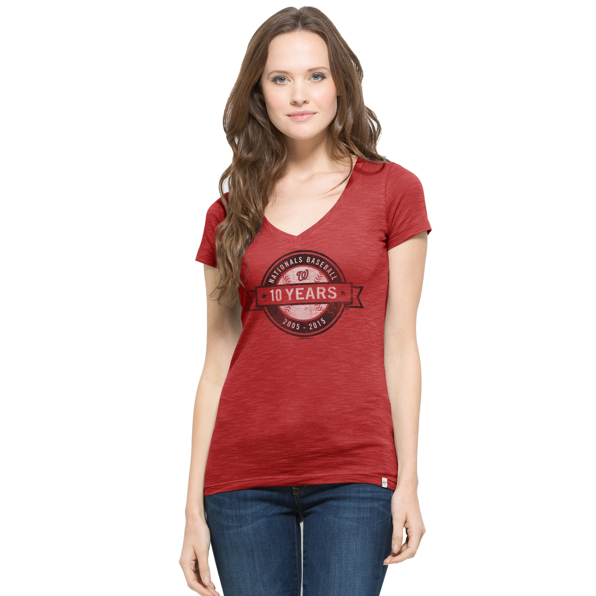 Washington Nationals '47 Women's Patch Logo Scrum V-Neck T-Shirt - Red