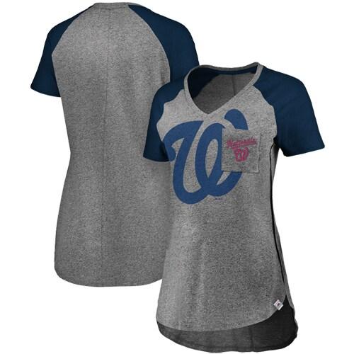 Washington Nationals Majestic Women's Static Pocket Raglan V-Neck T-Shirt - Gray/Navy