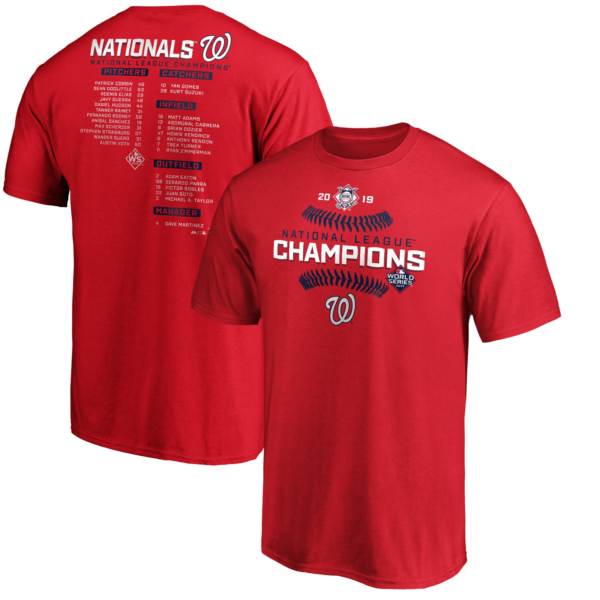 Washington Nationals Majestic 2019 National League Champions Bloop Single Roster T-Shirt - Red