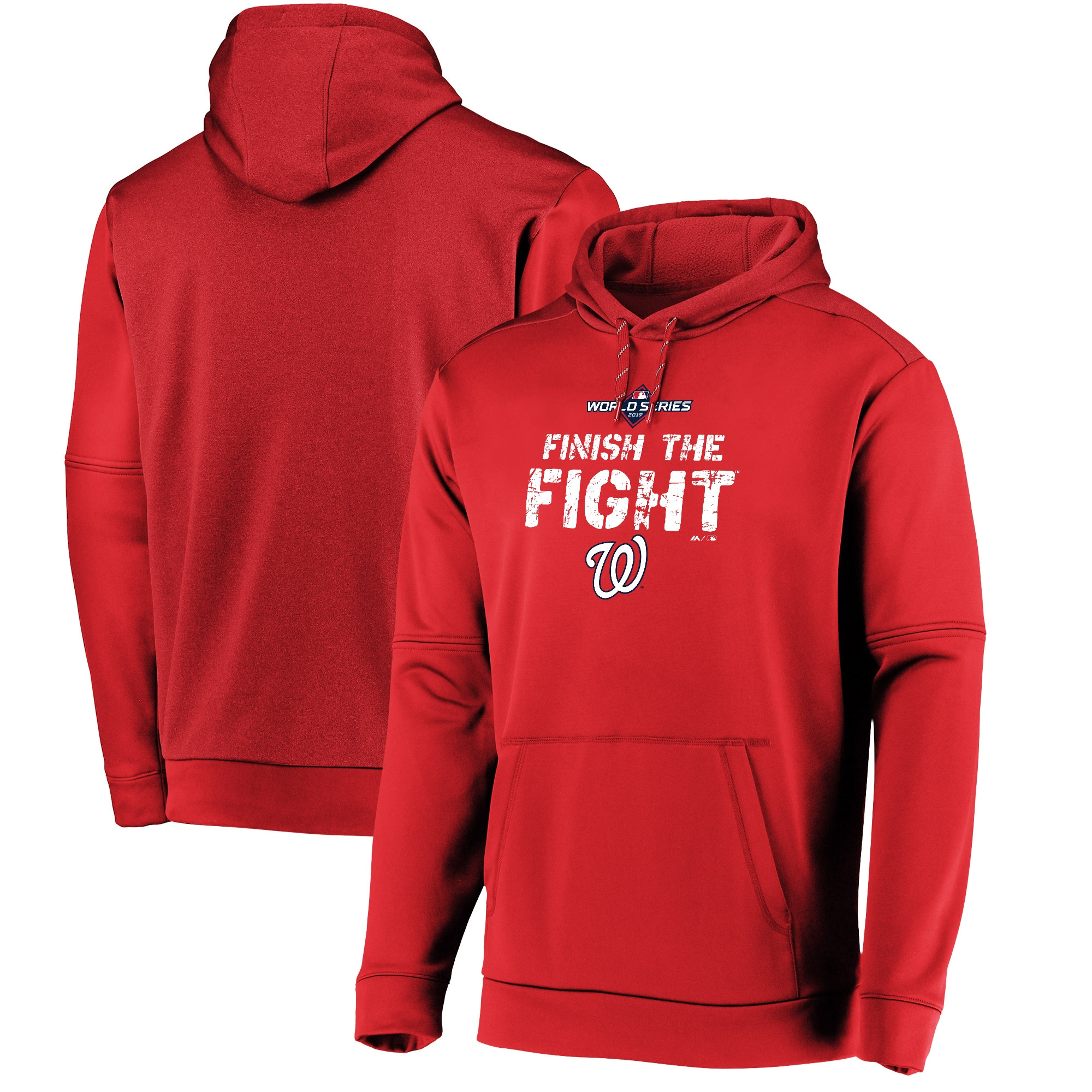 Washington Nationals Majestic 2019 World Series Bound Authentic Collection Dugout Pullover Hoodie - Red