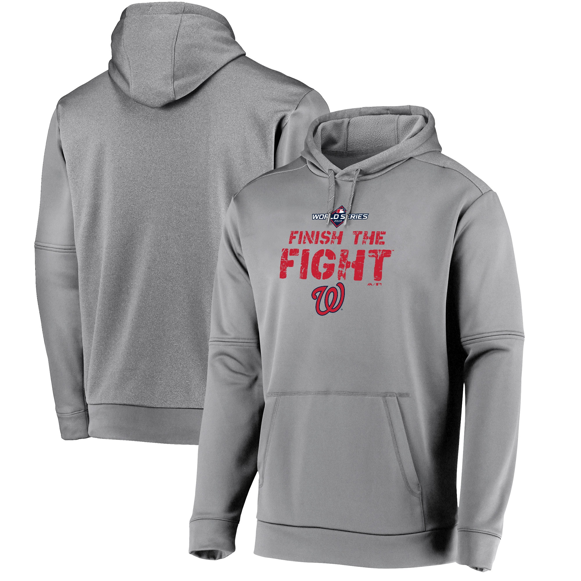 Washington Nationals Majestic 2019 World Series Bound Authentic Collection Dugout Pullover Hoodie - Gray