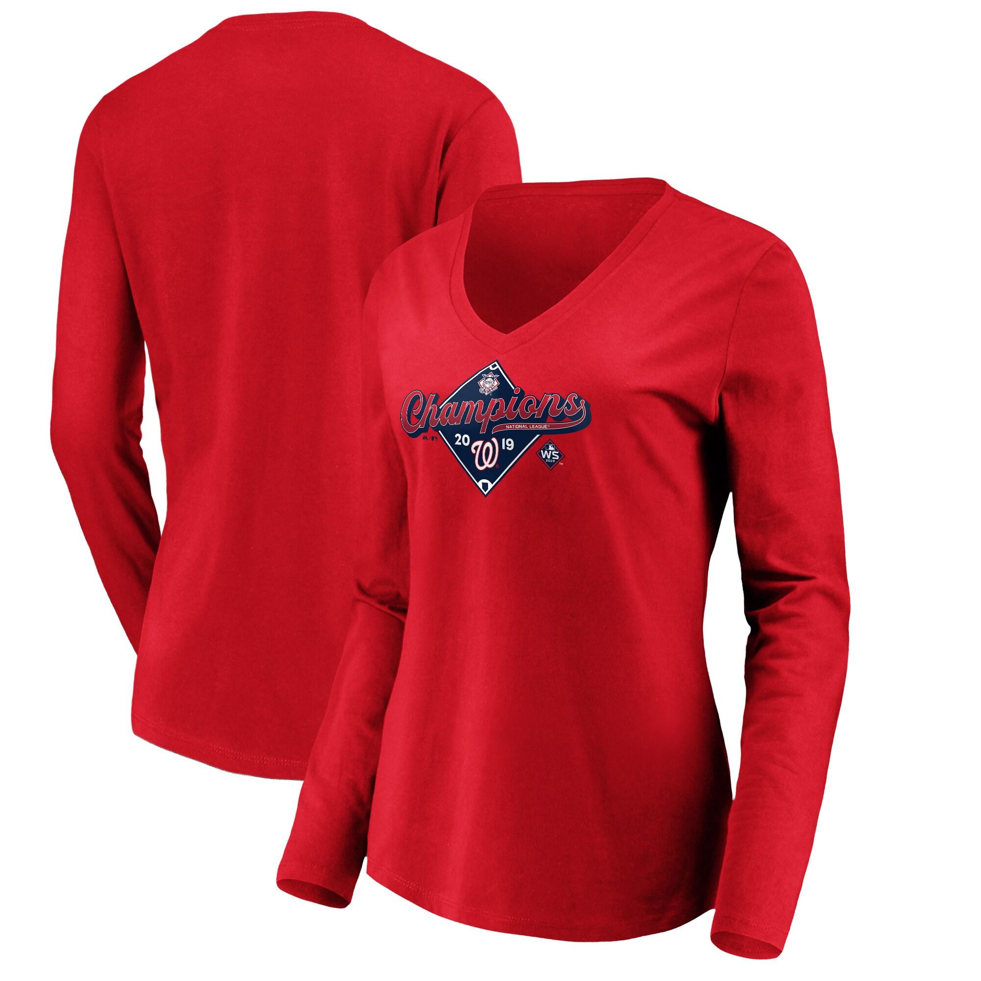 Washington Nationals Majestic Women's 2019 National League Champions Bullpen Long Sleeve V-Neck T-Shirt - Red