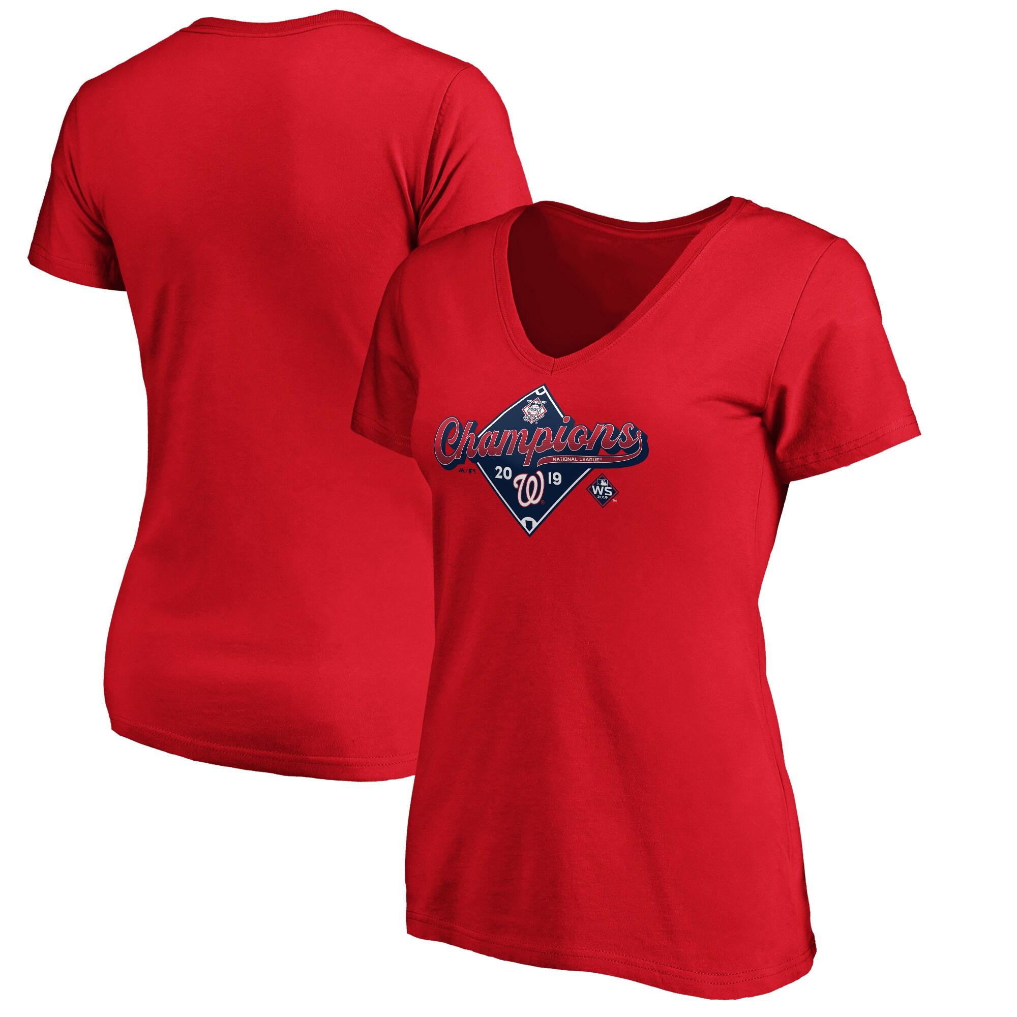 Washington Nationals Majestic Women's 2019 National League Champions Bullpen V-Neck T-Shirt - Red