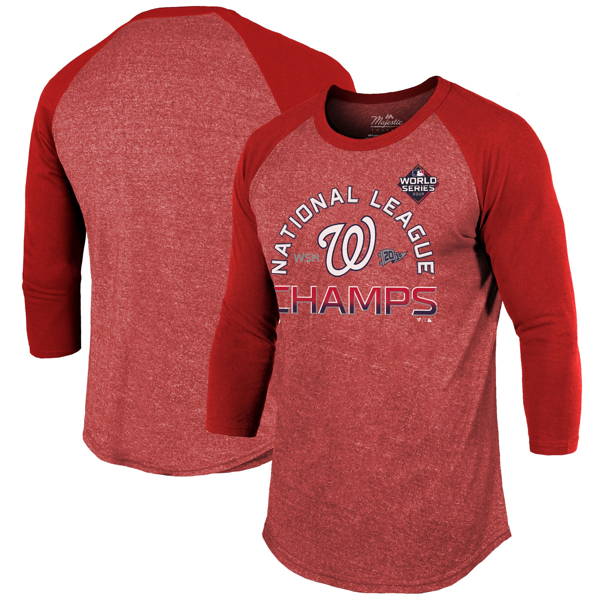 Washington Nationals Majestic Threads 2019 National League Champions Locker Room Raglan 3/4 Sleeve T-Shirt - Red