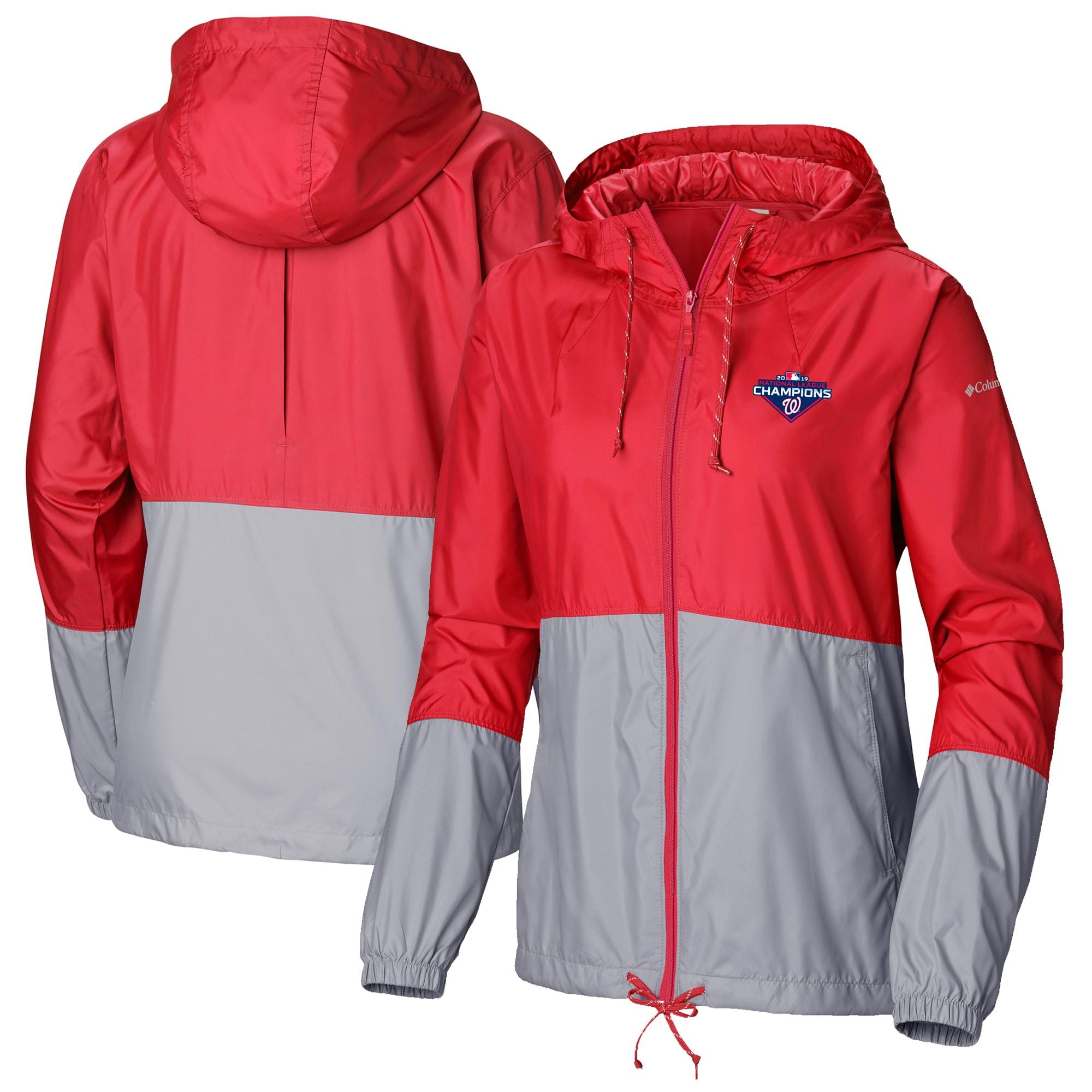 Washington Nationals Columbia Women's 2019 National League Champions Flash Forward Fill-Zip Windbreaker Jacket - Red