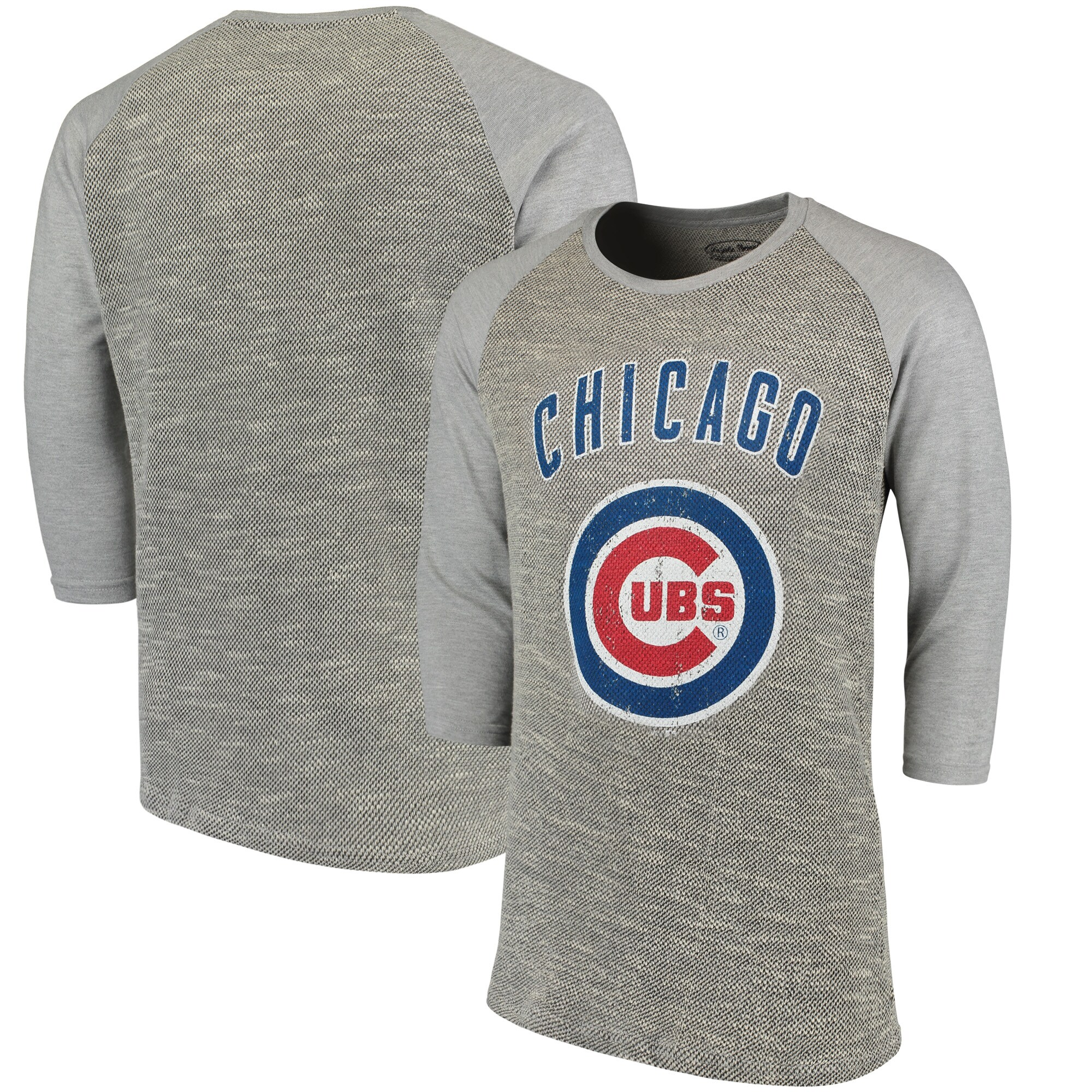 Chicago Cubs Majestic Threads Tri-Yarn French Terry 3/4-Sleeve Raglan T-Shirt - Gray