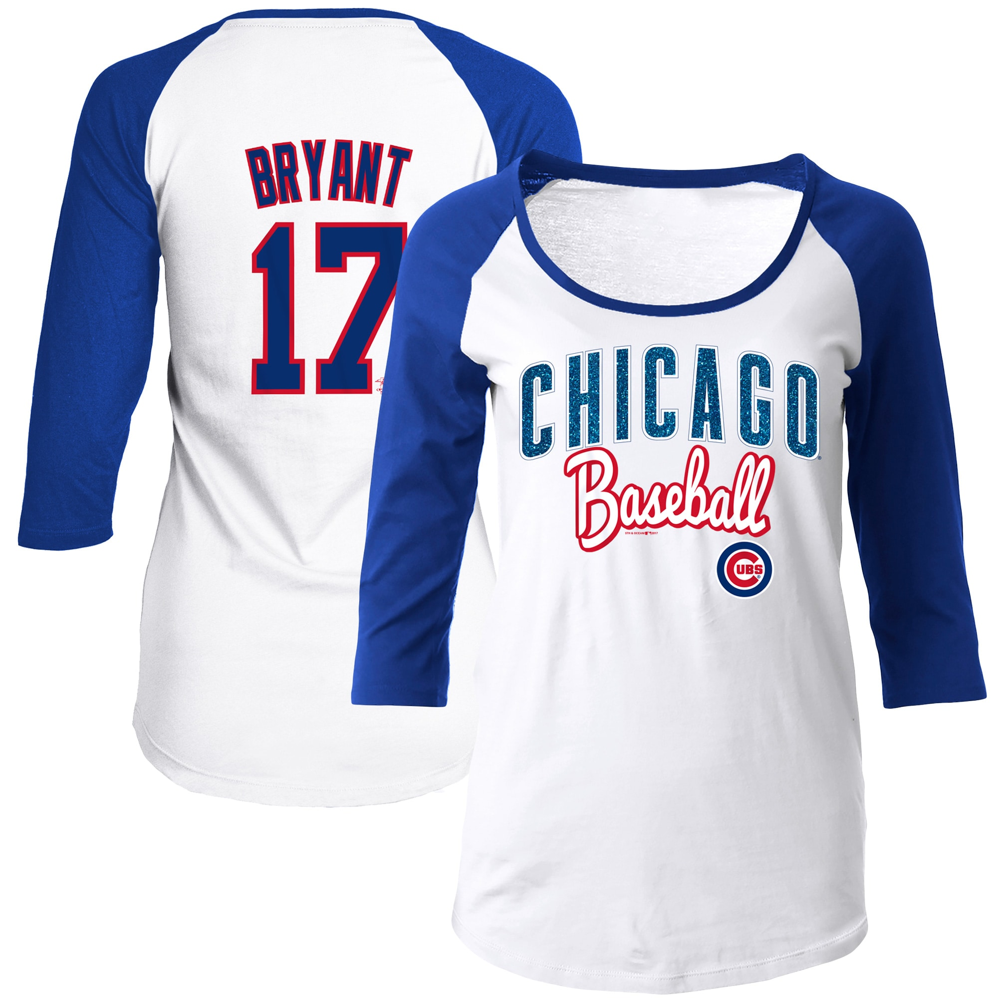 Kris Bryant Chicago Cubs 5th & Ocean by New Era Women's Glitter 3/4-Sleeve Raglan T-Shirt - White/Royal