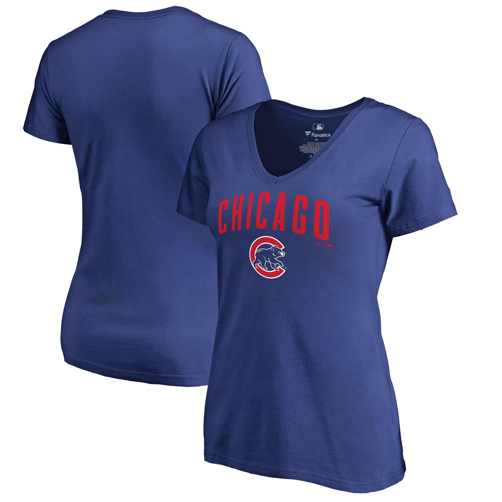 Chicago Cubs Fanatics Branded Women's Team Lockup V-Neck T-Shirt - Royal