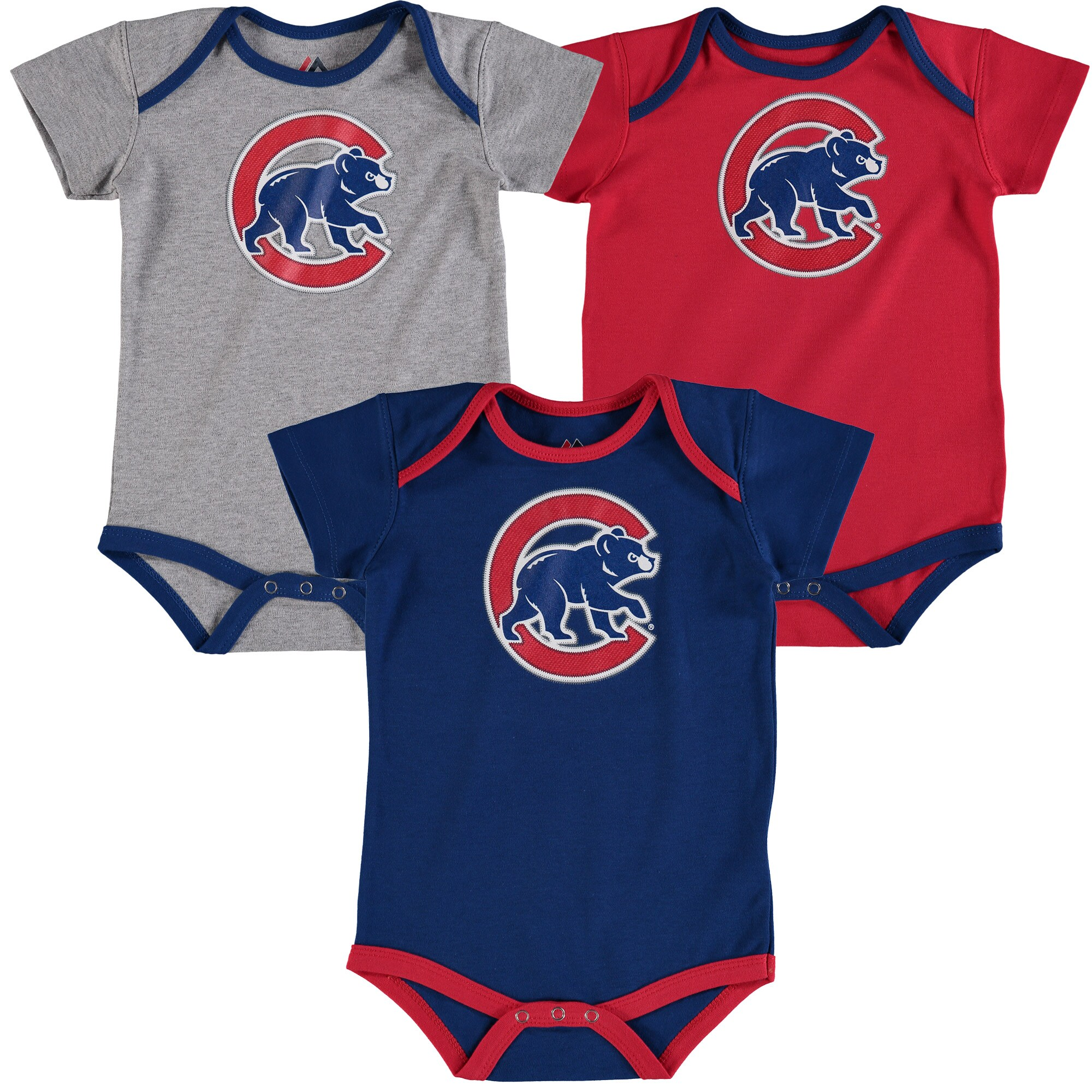 Anthony Rizzo Chicago Cubs Majestic Infant Name & Number 3-Pack Bodysuit Set - Red/Royal/Gray
