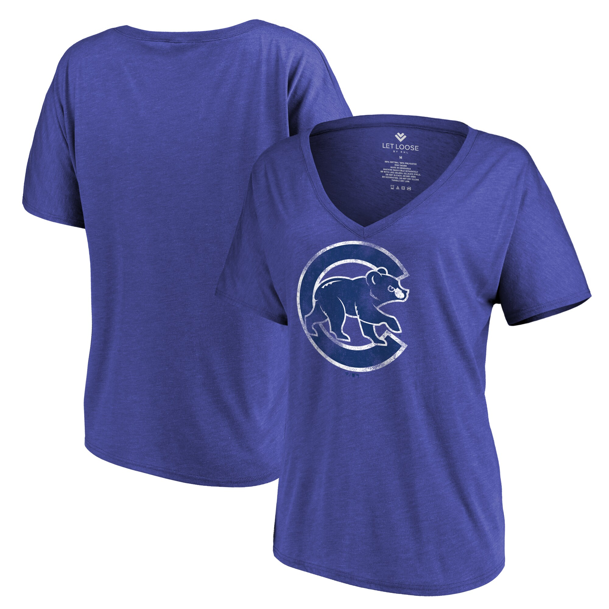 Chicago Cubs Let Loose by RNL Women's Distressed Primary Logo T-Shirt - Royal