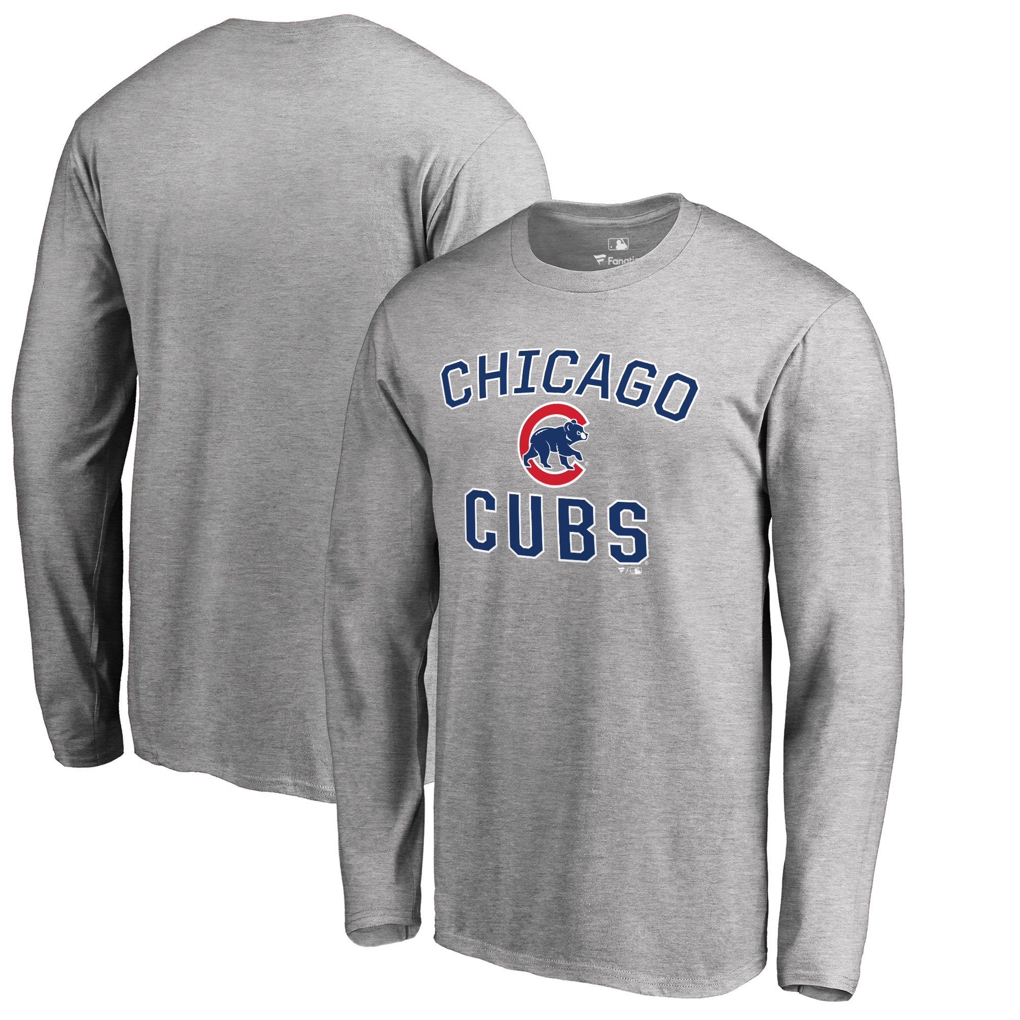 Chicago Cubs Big & Tall Victory Arch Long Sleeve T-Shirt - Ash