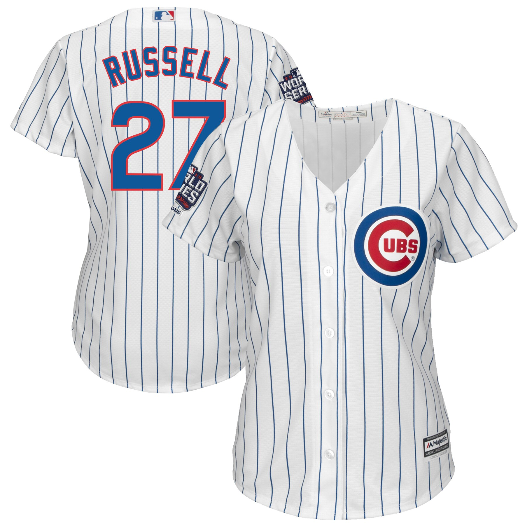 Addison Russell Chicago Cubs Majestic Women's 2016 World Series Champions Home Cool Base Player Jersey - White