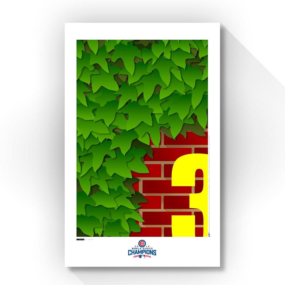 "Chicago Cubs 11"" x 17"" Minimalist Art Brick & Ivy Ballpark Poster"