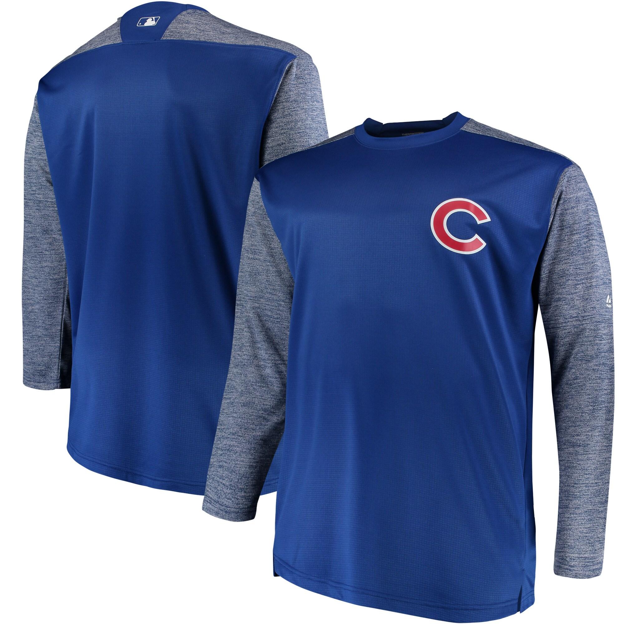 Chicago Cubs Majestic Big & Tall On-Field Tech Fleece Sweatshirt - Royal/Gray