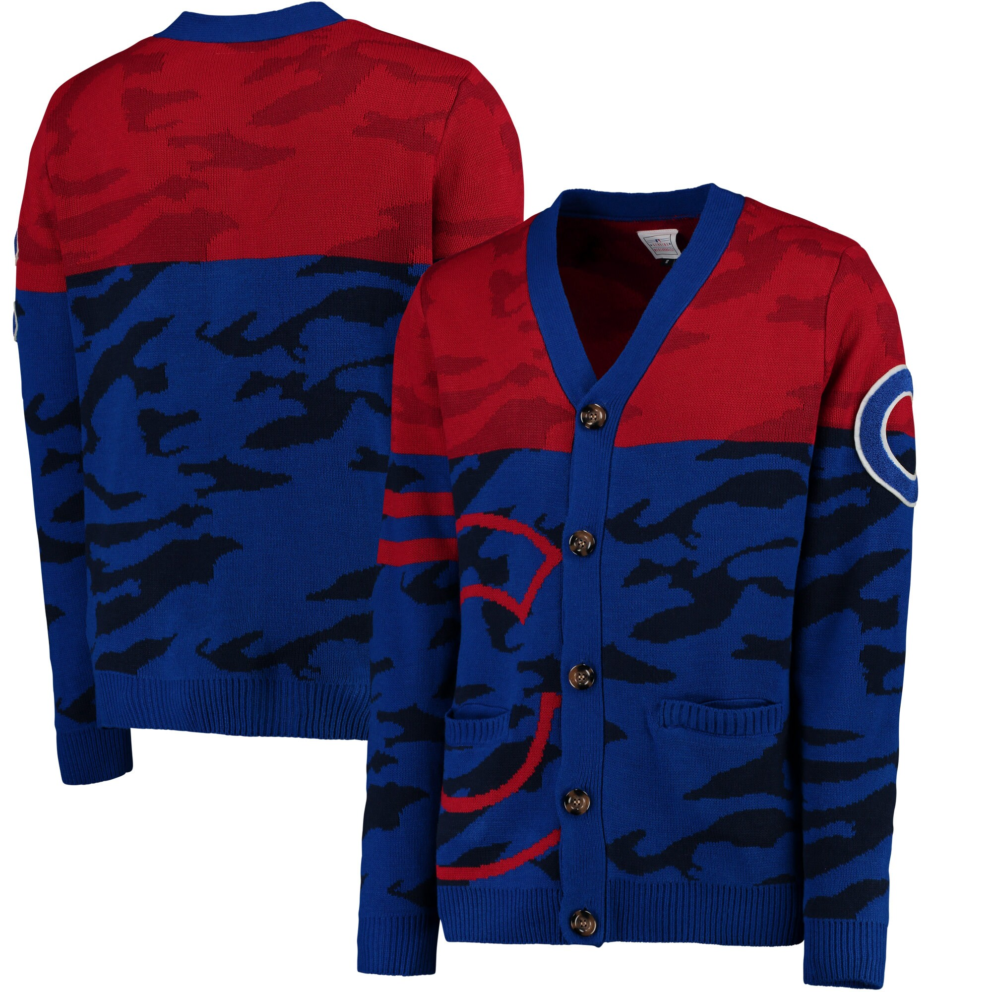 Chicago Cubs Camouflage Cardigan Sweater - Royal