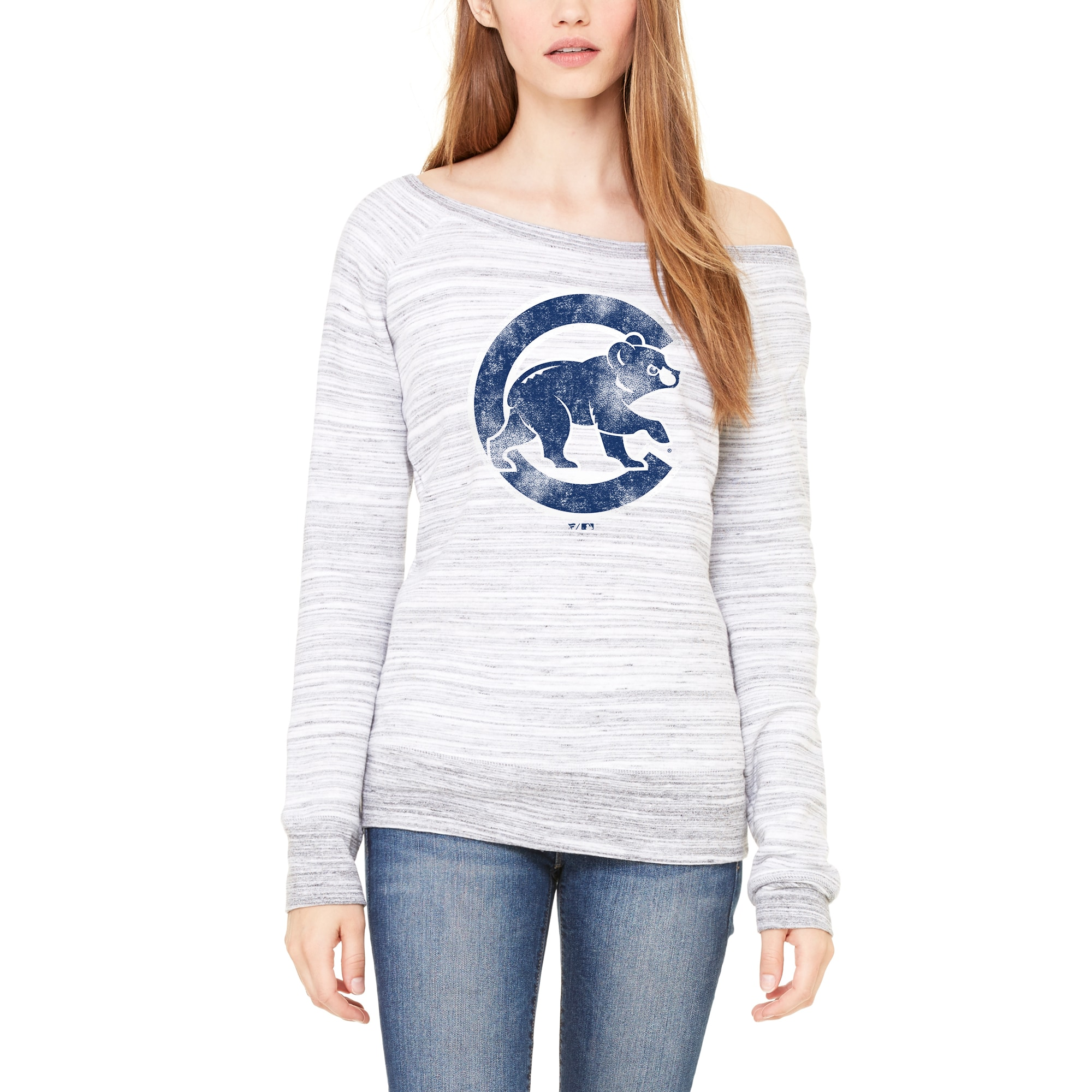 Chicago Cubs Let Loose by RNL Women's Game Day Wide Neck Sweatshirt - Light Gray Marble