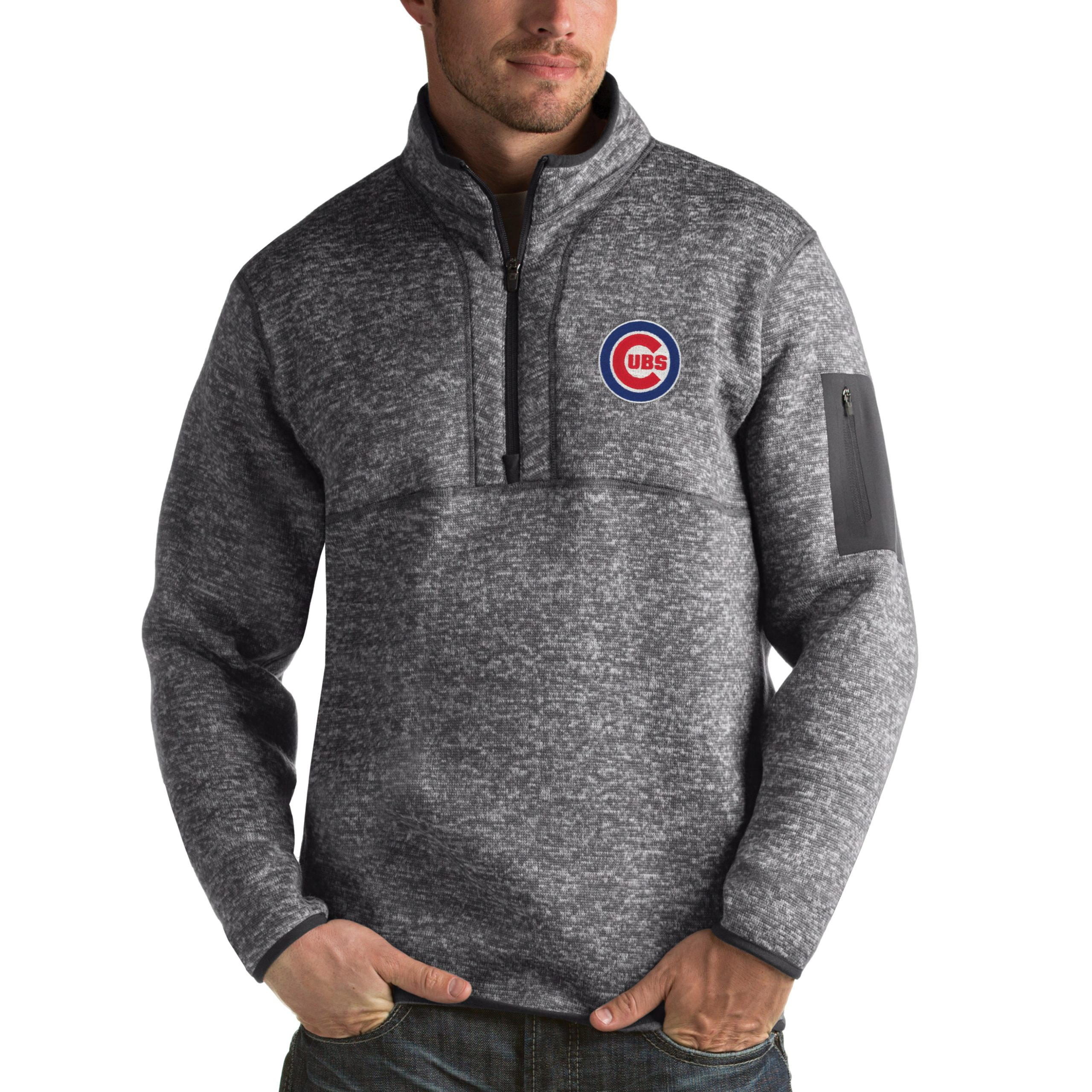 Chicago Cubs Antigua Fortune Half-Zip Sweater - Heathered Charcoal