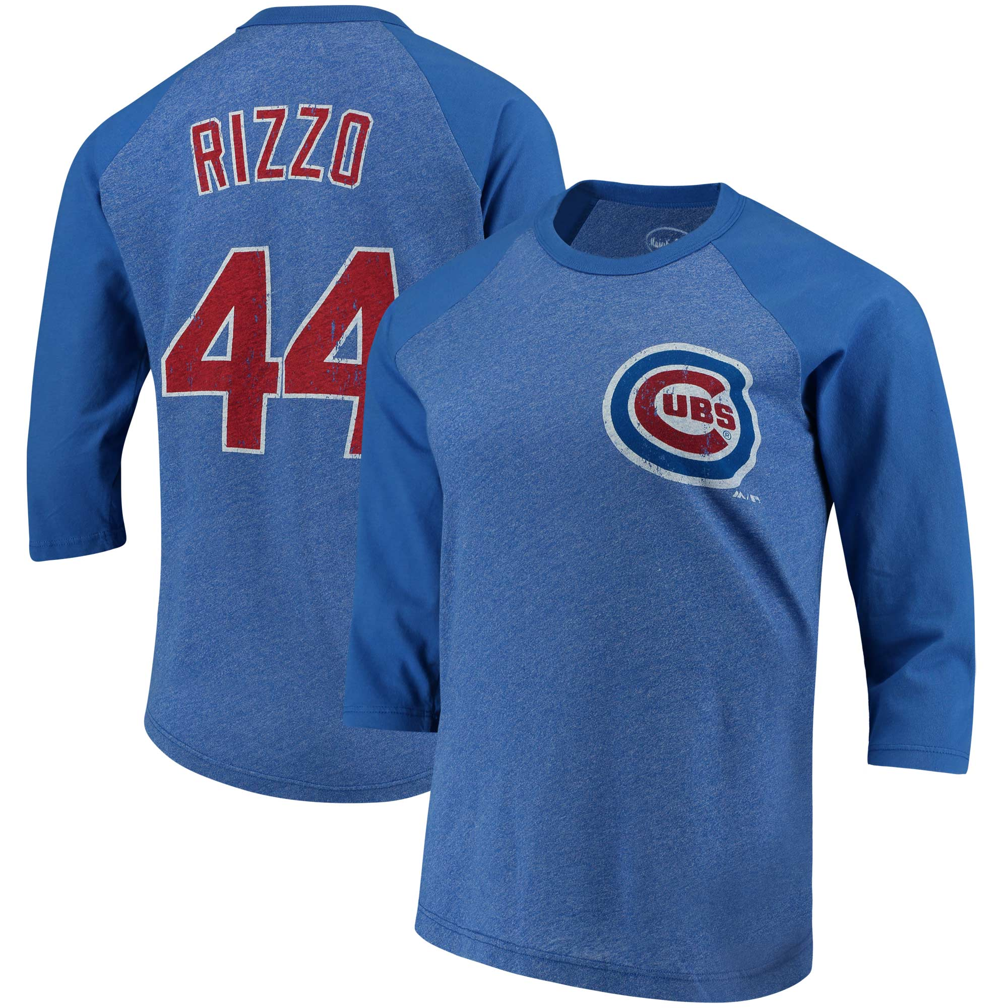 Anthony Rizzo Chicago Cubs Majestic Threads Women's 3/4-Sleeve Raglan Name & Number T-Shirt - Royal