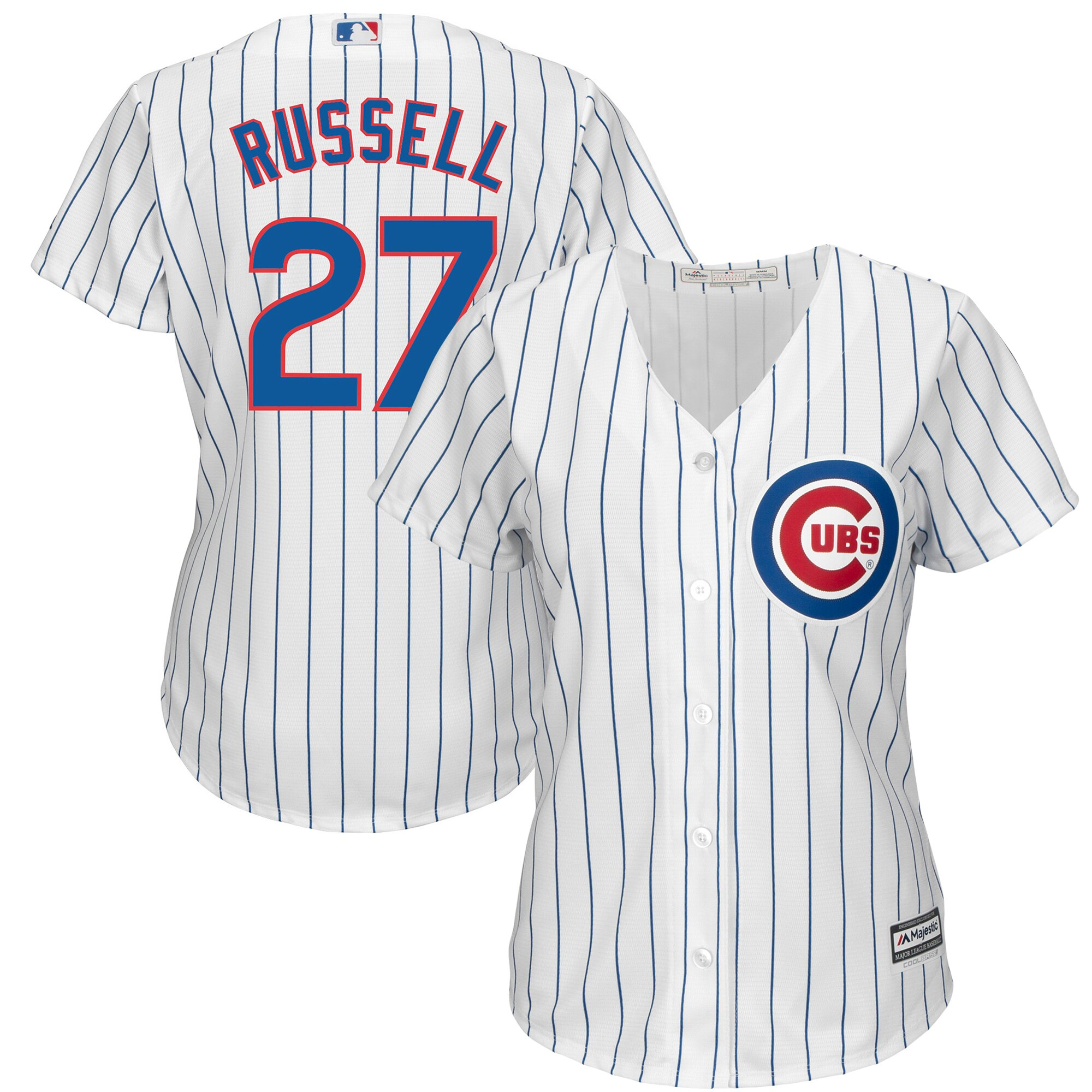 Addison Russell Chicago Cubs Majestic Women's Cool Base Player Jersey - White -