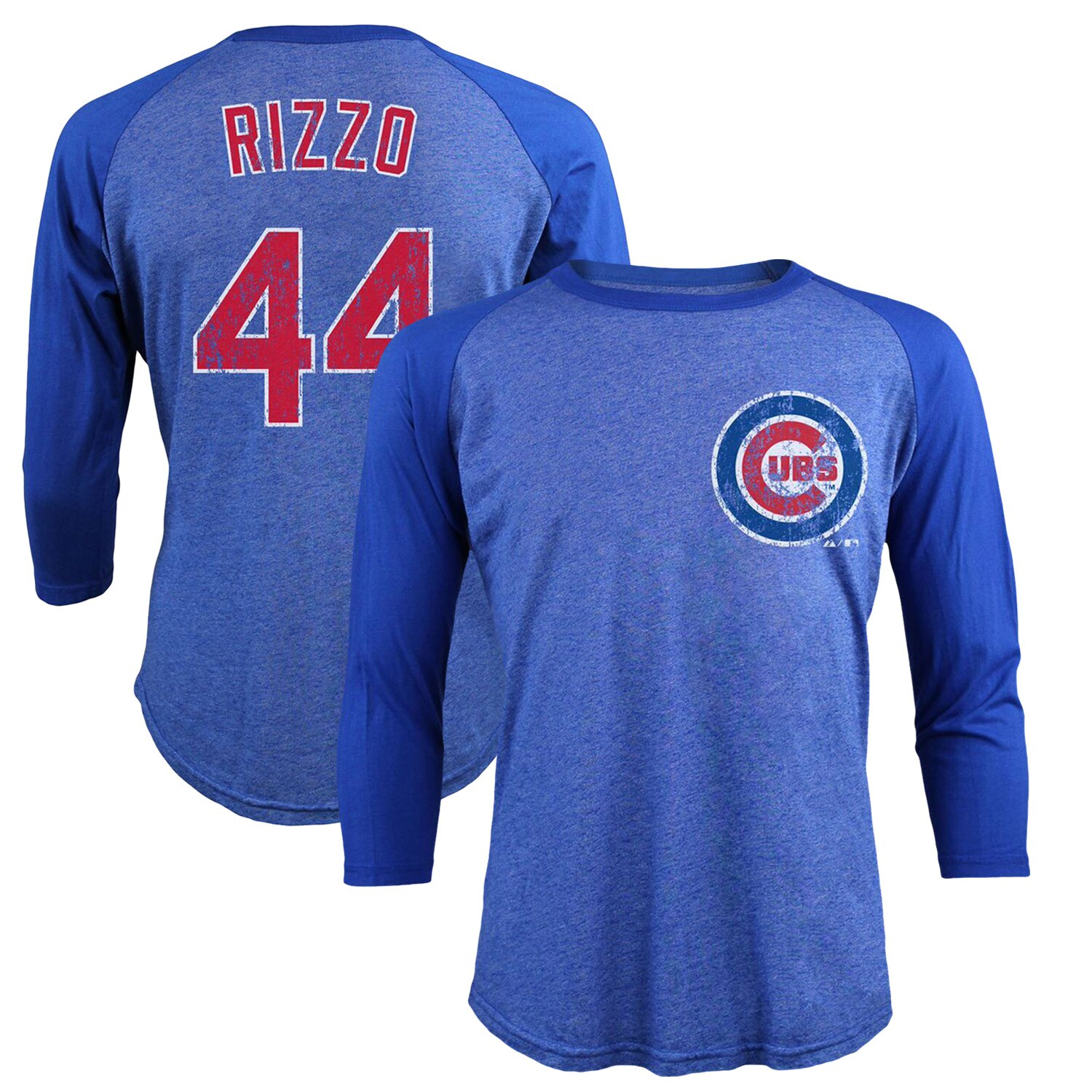 Anthony Rizzo Chicago Cubs Majestic Threads Tri-Blend 3/4-Sleeve Raglan Name & Number T-Shirt - Royal