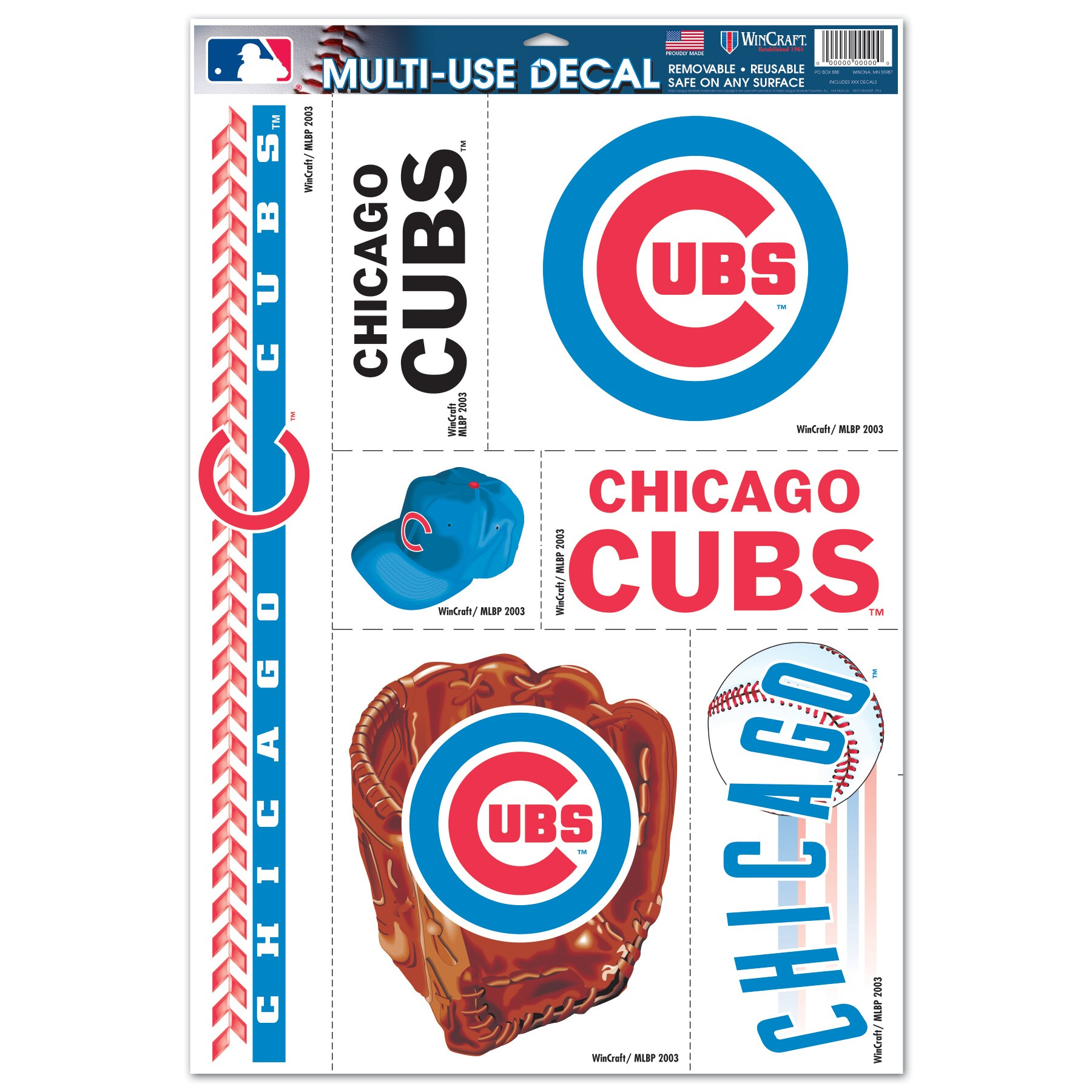 """Chicago Cubs WinCraft 7-Piece 11"""" x 17"""" Multi-Use Decal Sheet"""