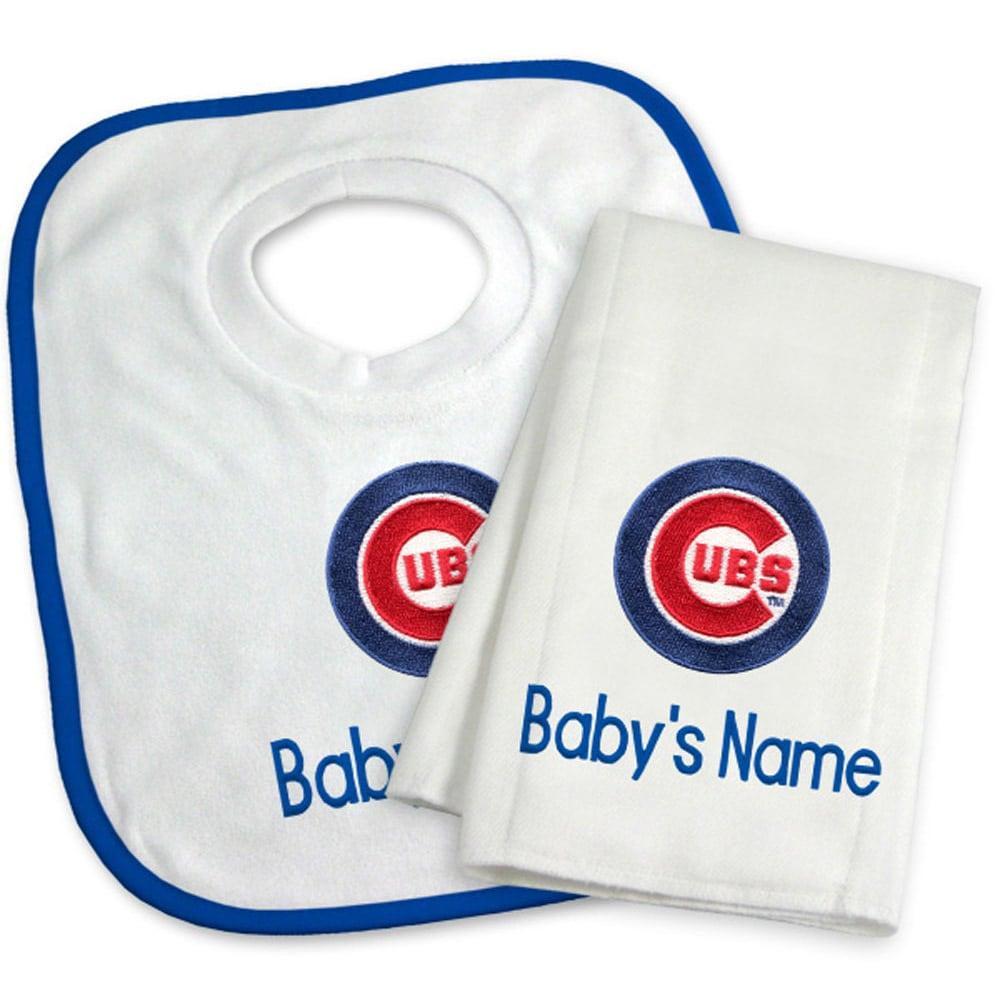 Chicago Cubs Newborn & Infant Personalized Bib & Burp Cloth Set - White
