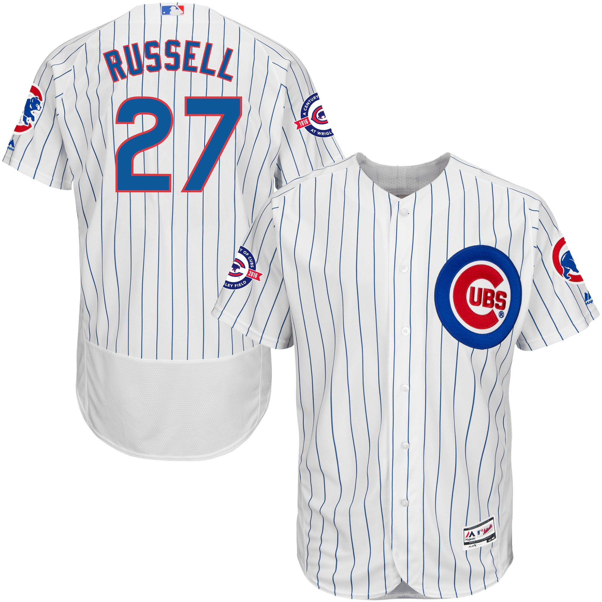 Addison Russell Chicago Cubs Majestic Home Flex Base Authentic Collection Jersey with 100 Years at Wrigley Field Commemorative Patch - White/Royal