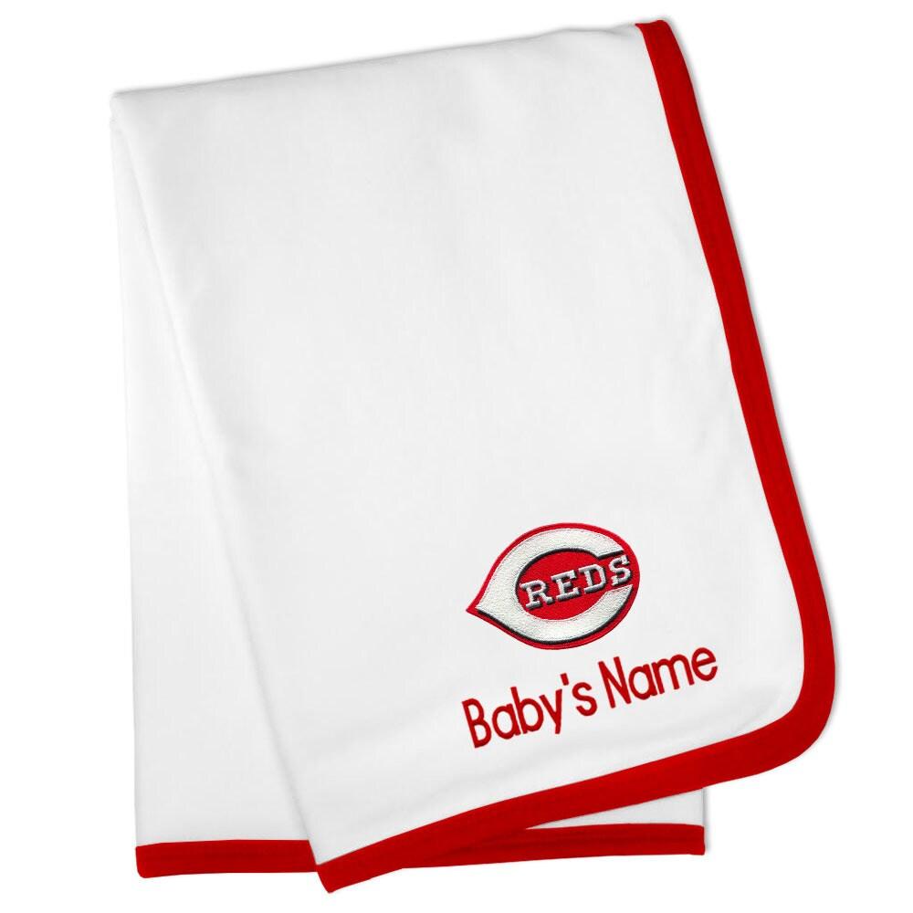 Cincinnati Reds Personalized Baby Blanket - White