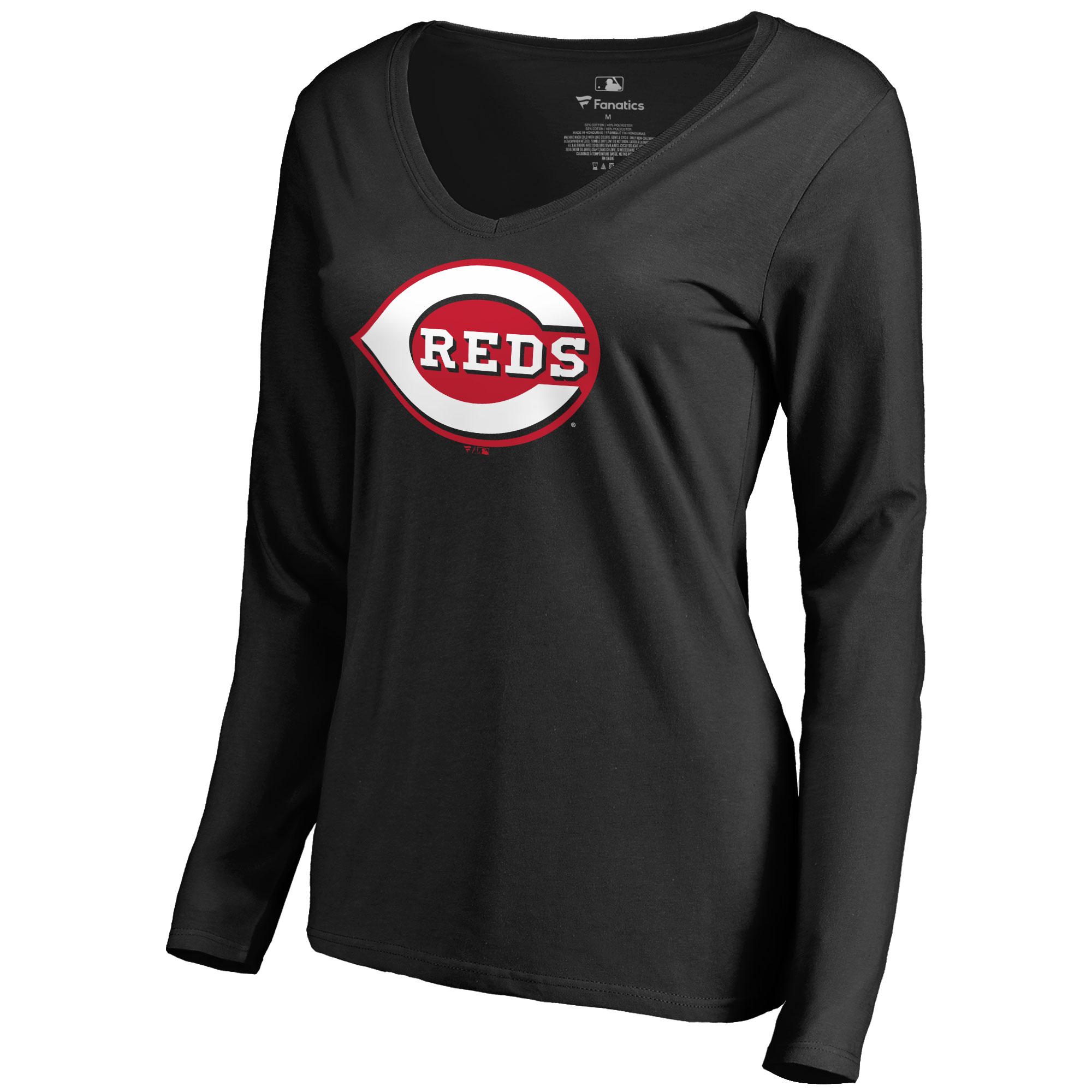Cincinnati Reds Women's Secondary Color Primary Logo Long Sleeve T-Shirt - Black