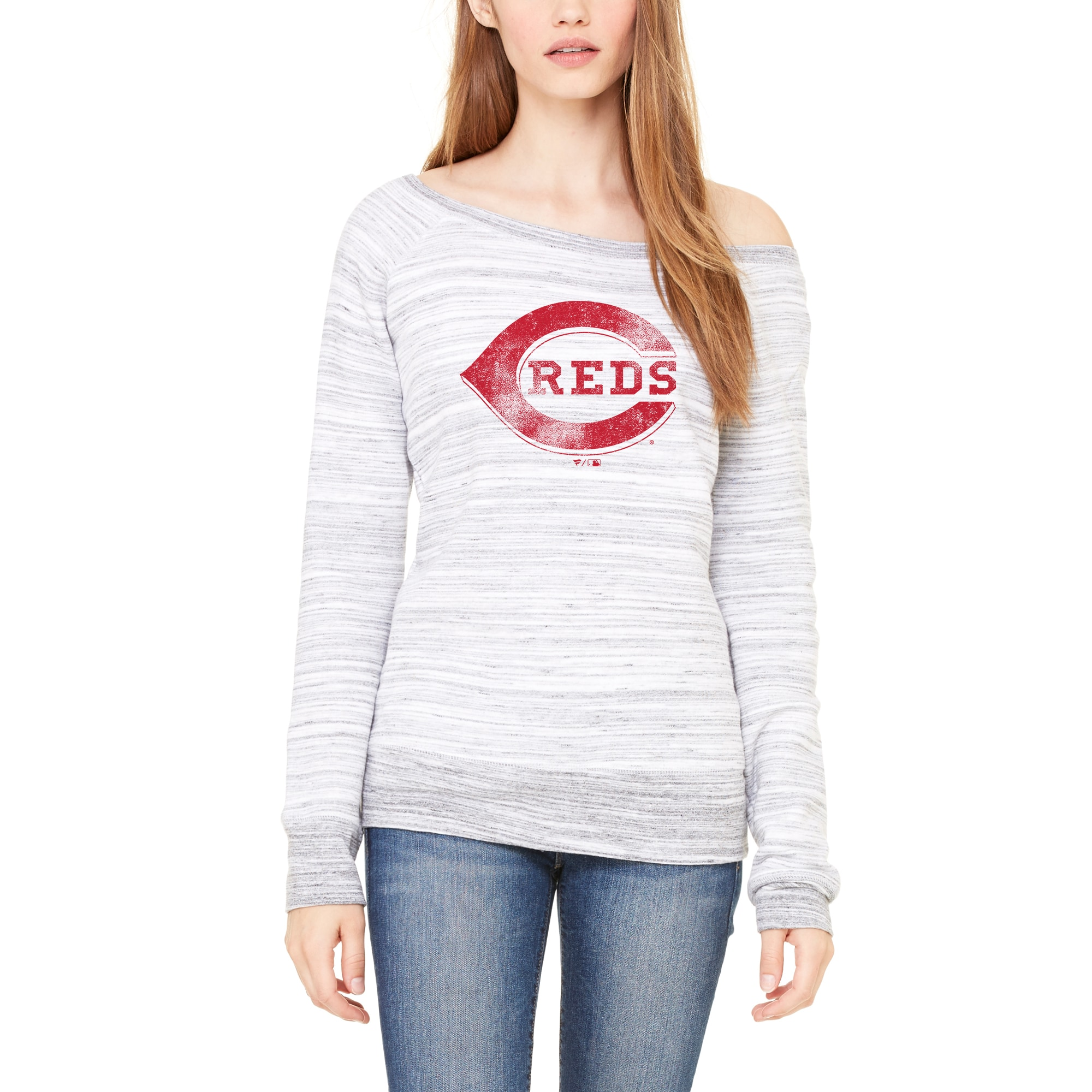 Cincinnati Reds Let Loose by RNL Women's Game Day Wide Neck Sweatshirt - Light Gray Marble