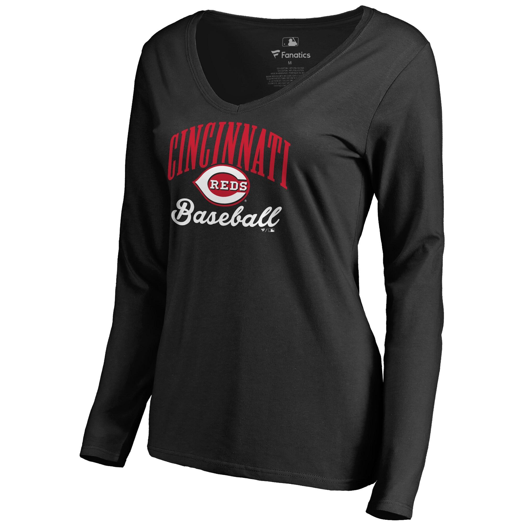 Cincinnati Reds Women's Victory Script Long Sleeve T-Shirt - Black