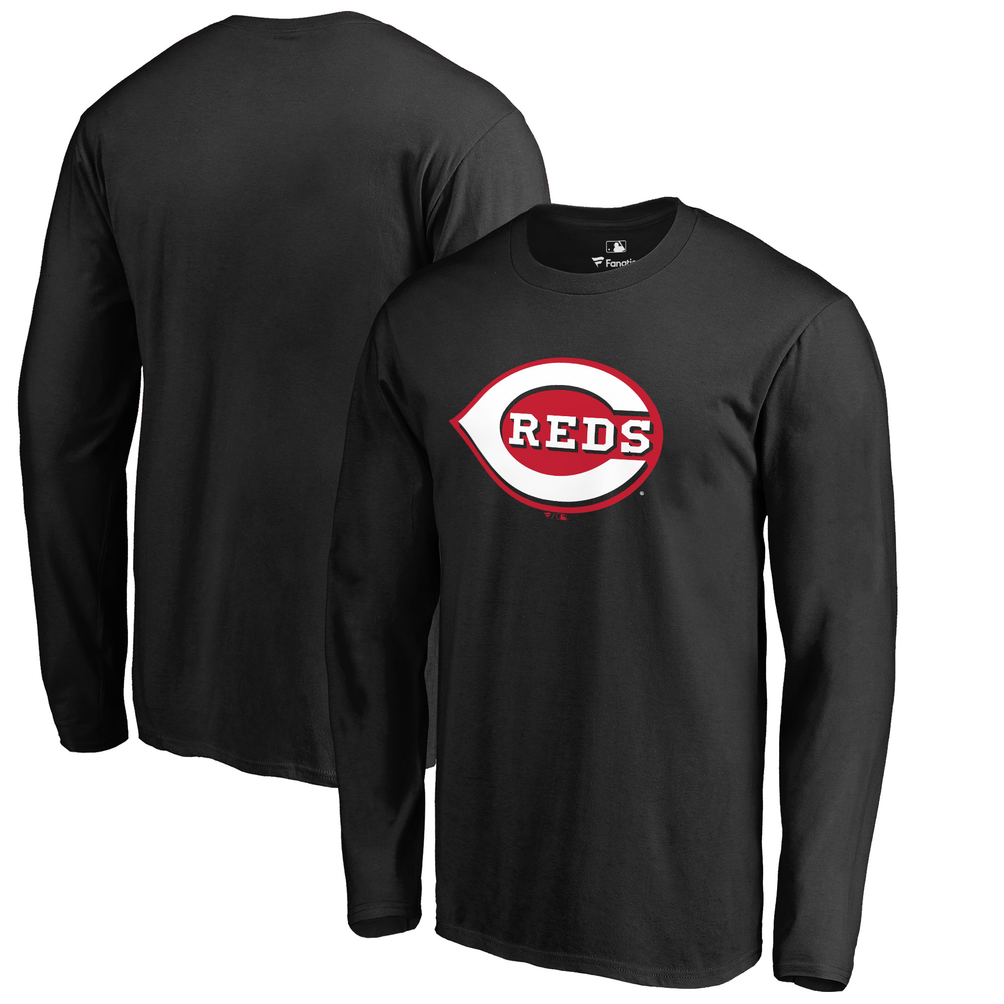 Cincinnati Reds Big & Tall Primary Team Logo Long Sleeve T-Shirt - Black