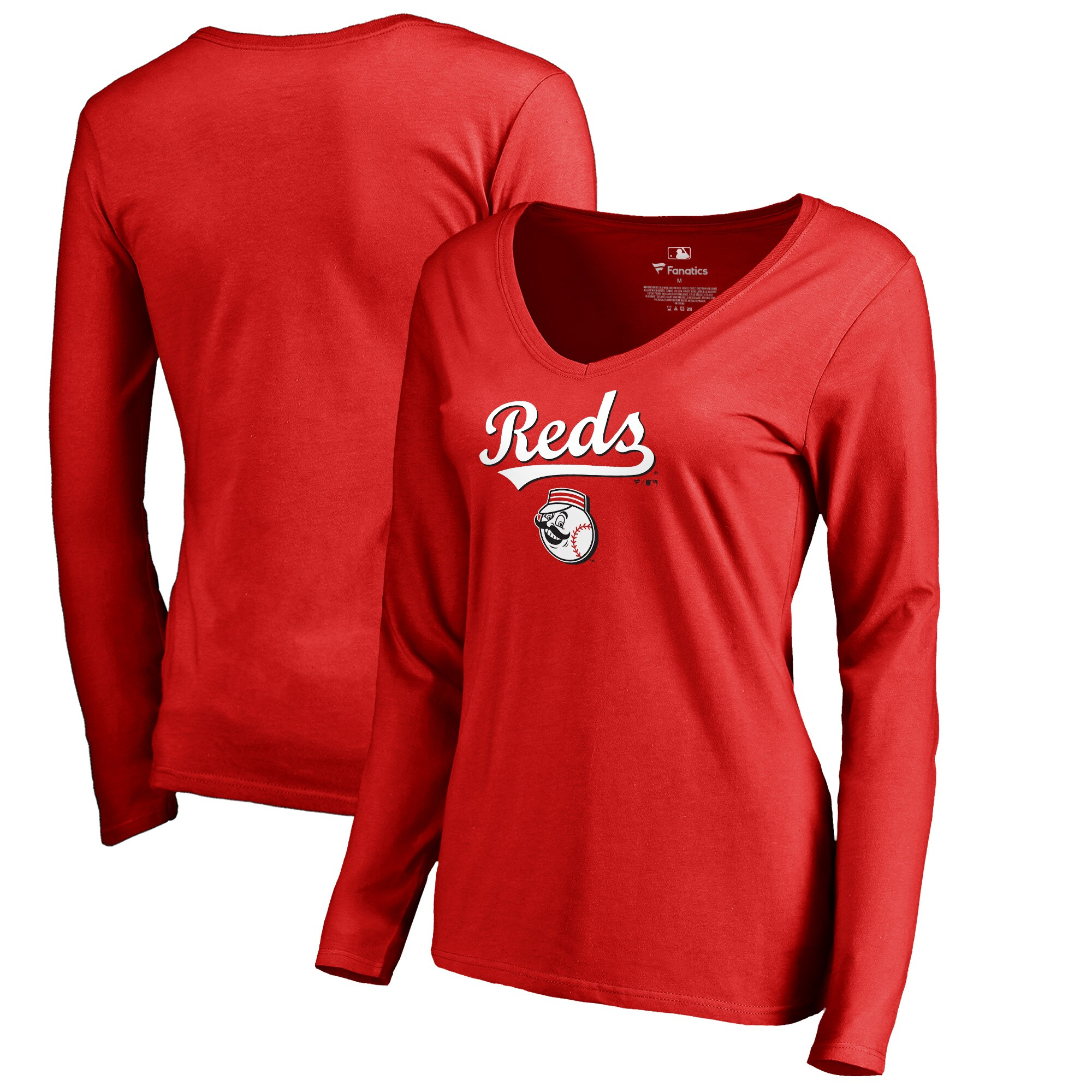 Cincinnati Reds Fanatics Branded Women's Team Lockup Slim Fit Long Sleeve V-Neck T-Shirt - Red