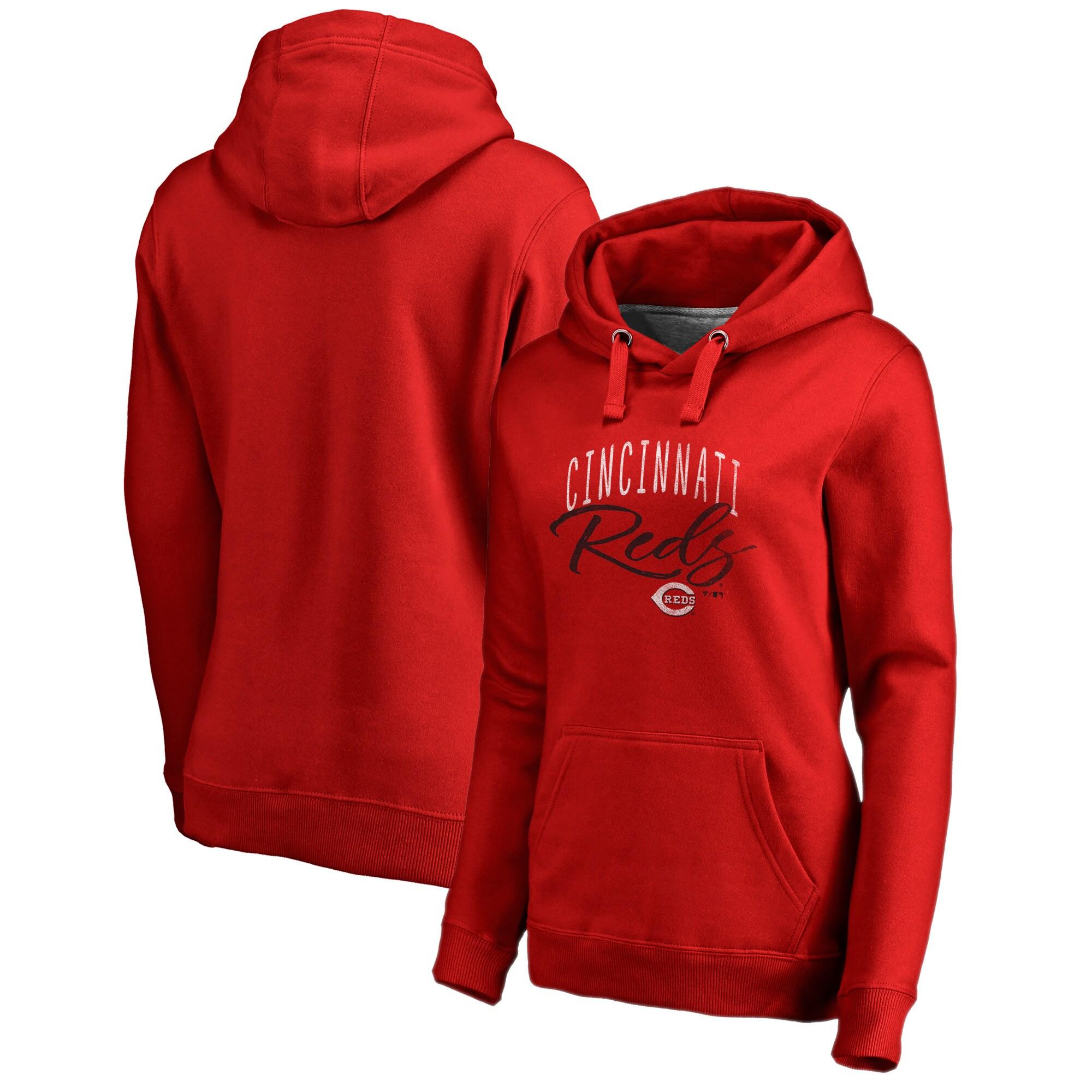 Cincinnati Reds Fanatics Branded Women's Plus Size Graceful Pullover Hoodie - Red