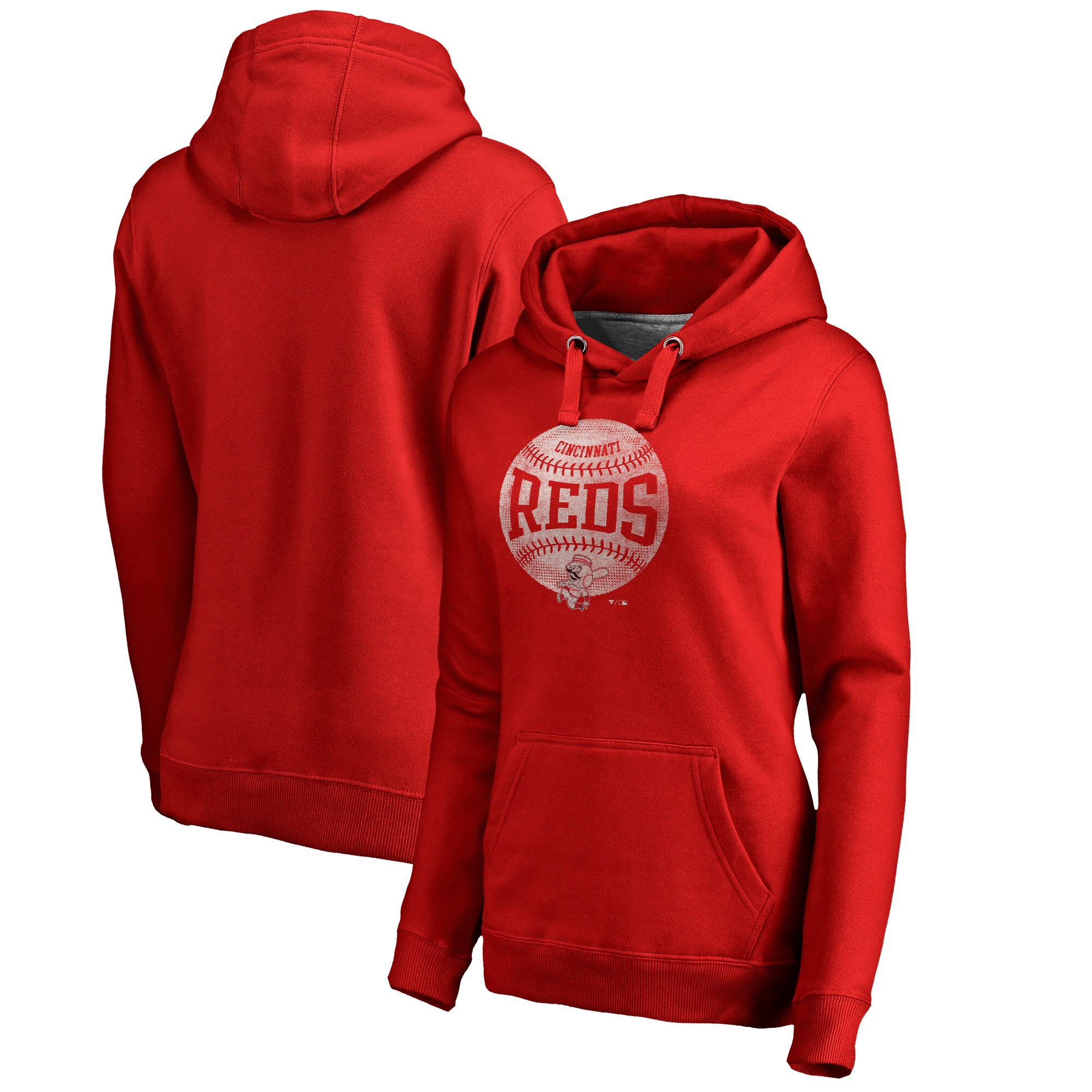Cincinnati Reds Fanatics Branded Women's Cooperstown Collection Slider Plus Size Pullover Hoodie - Red