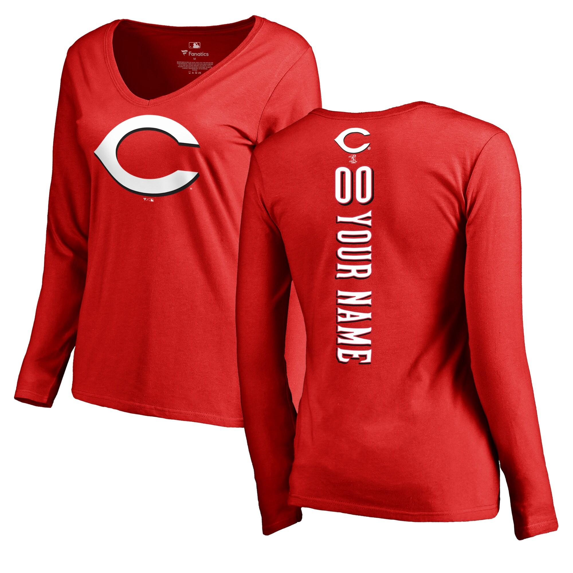 Cincinnati Reds Fanatics Branded Women's Personalized Playmaker Long Sleeve T-Shirt - Red