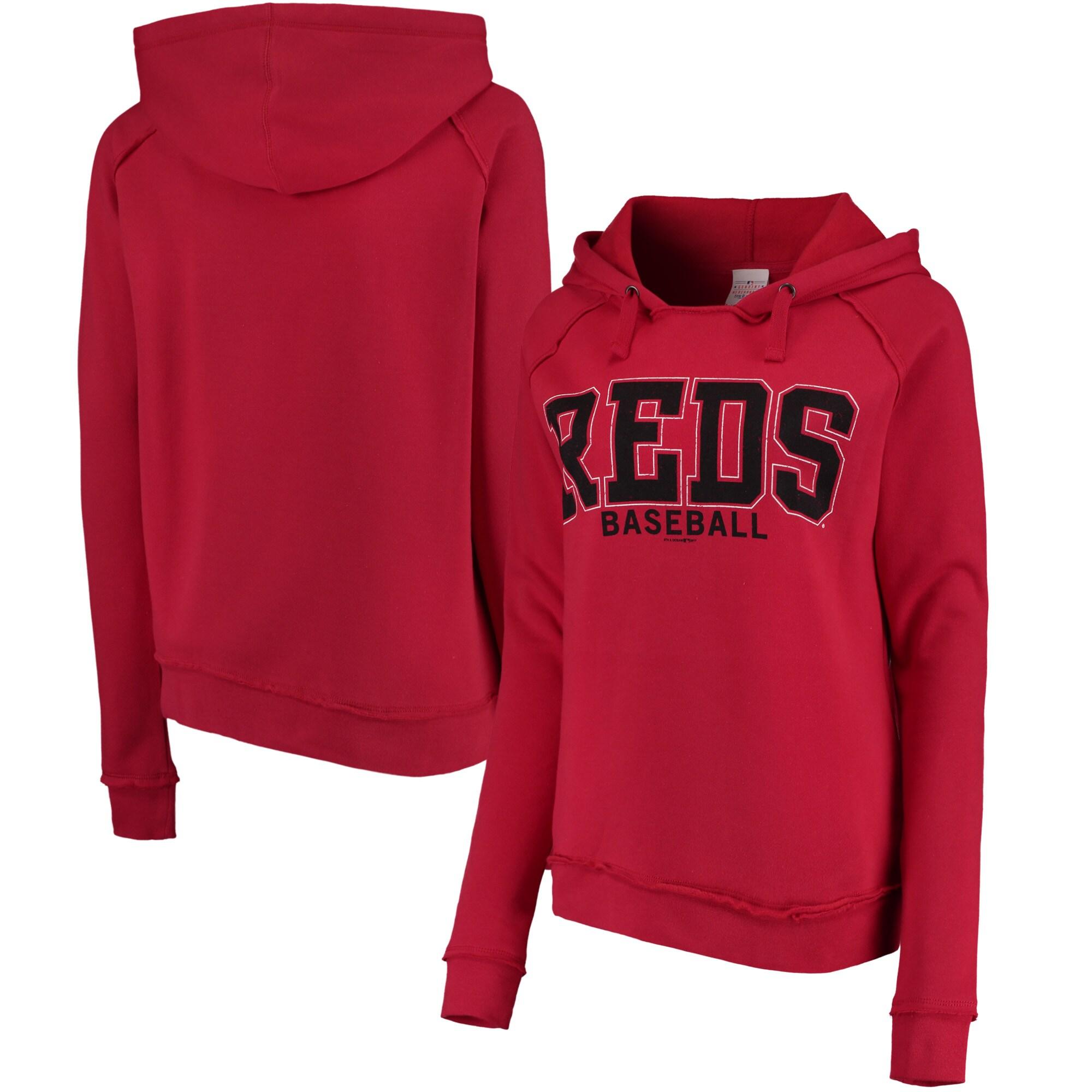 Cincinnati Reds 5th & Ocean by New Era Women's Defense Raglan Pullover Hoodie - Red