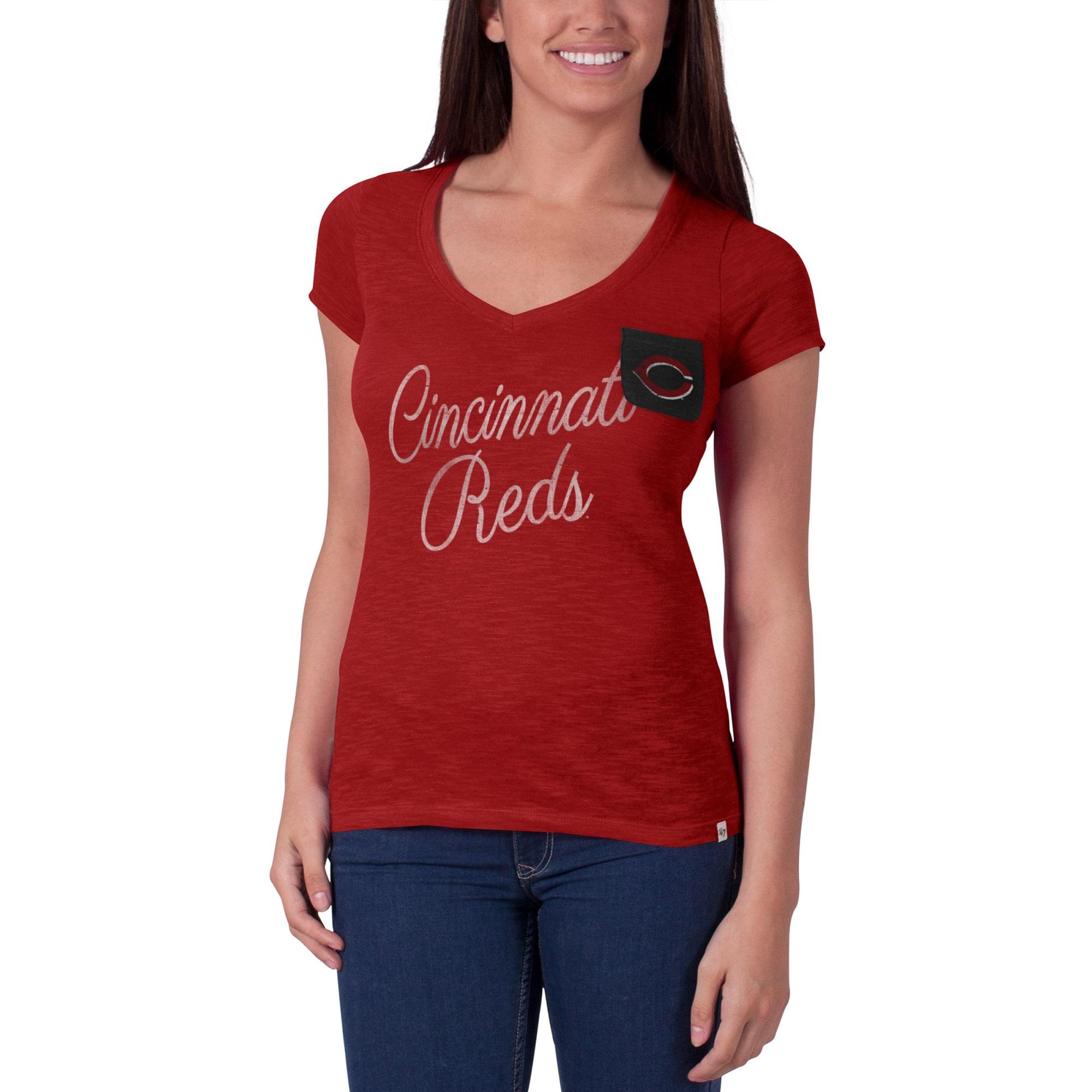 Cincinnati Reds '47 Women's Harbour V-Neck Pocket T-Shirt - Red