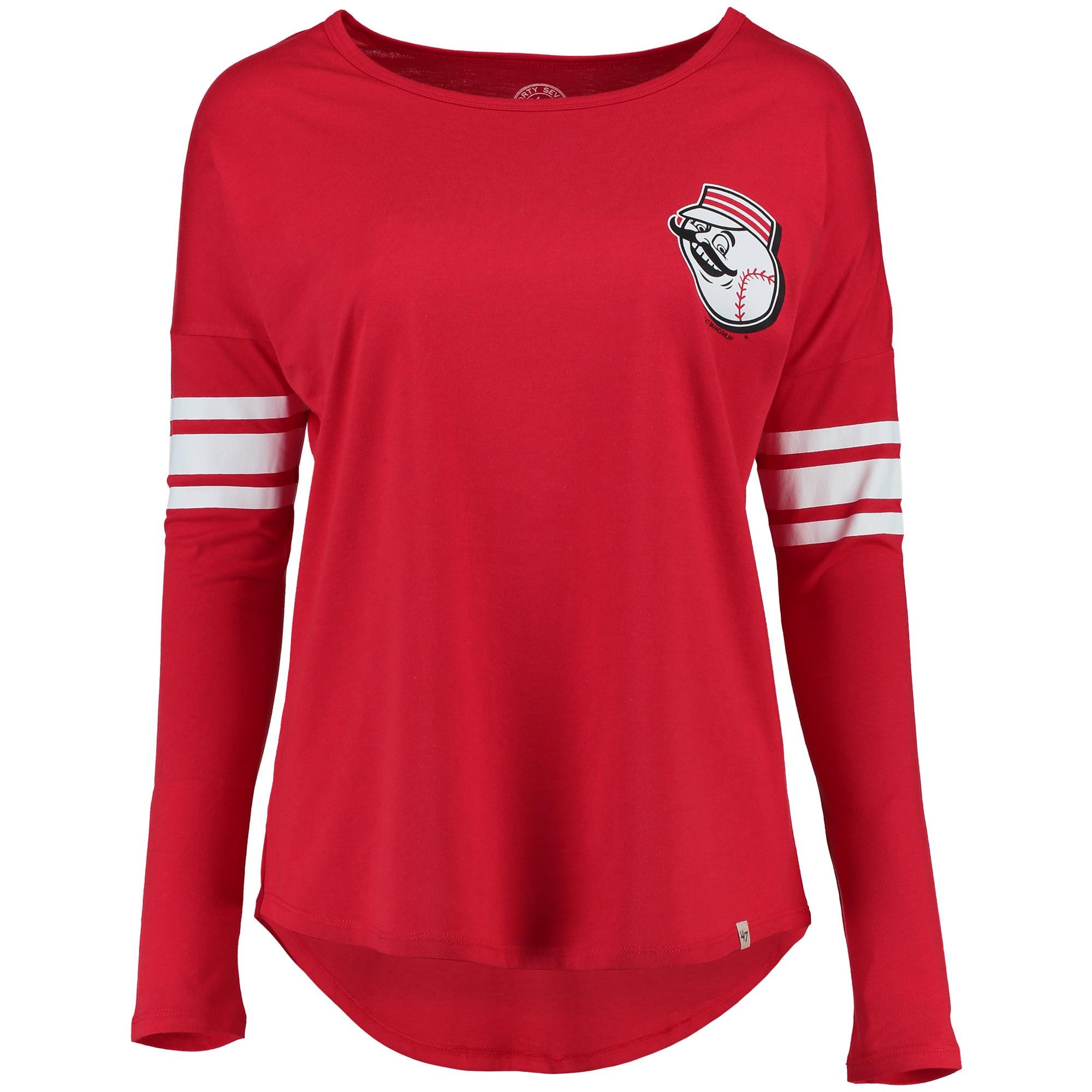 Cincinnati Reds '47 Women's Ultra Courtside Long Sleeve T-Shirt - Red