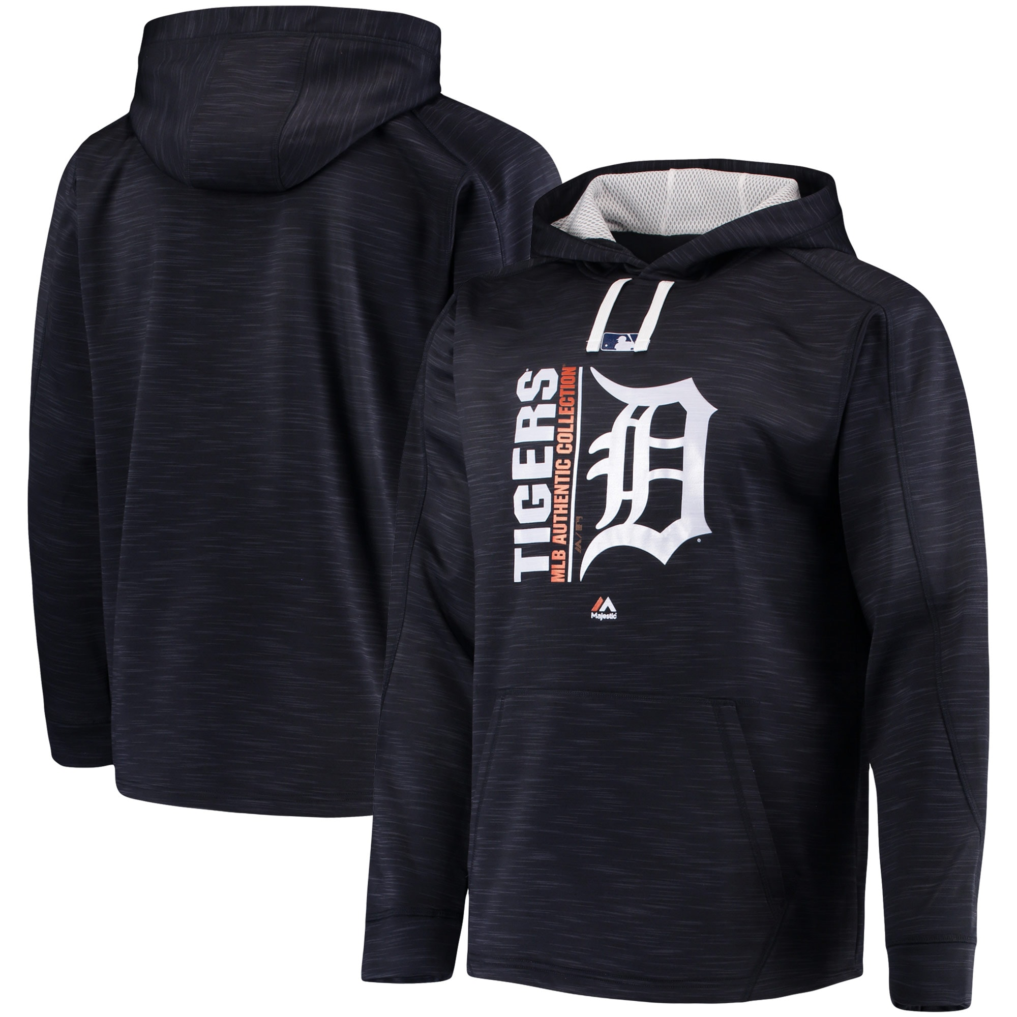 Detroit Tigers Majestic Authentic Collection Team Icon Streak Fleece Pullover Hoodie - Navy/White