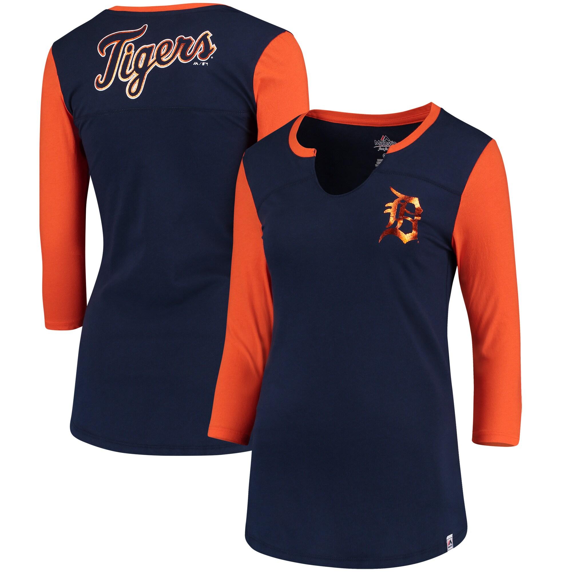Detroit Tigers Majestic Women's Above Average Three-Quarter Sleeve V-Notch T-Shirt - Navy/Orange