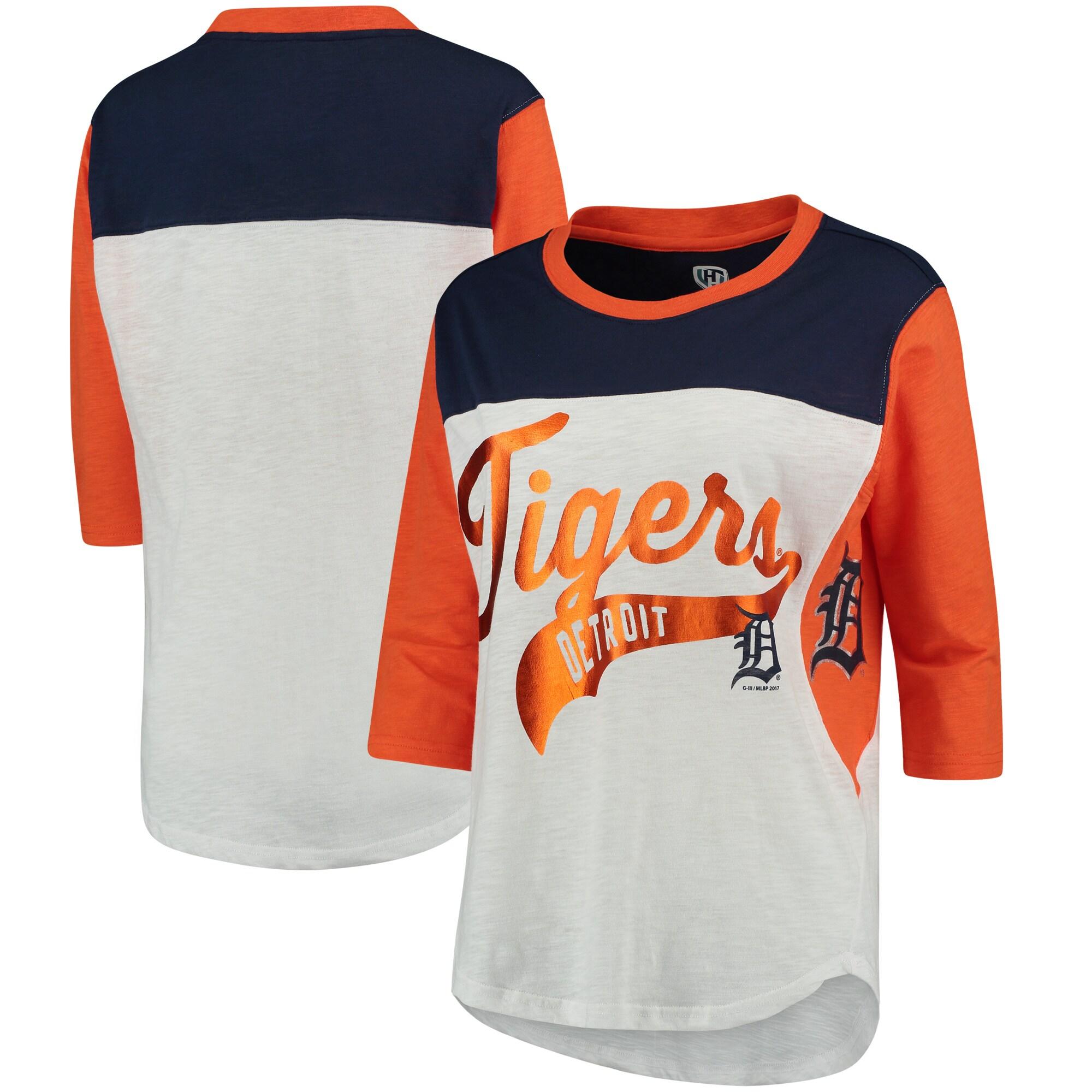 Detroit Tigers Hands High Women's Season's Pass 3/4 Sleeve T-Shirt - White